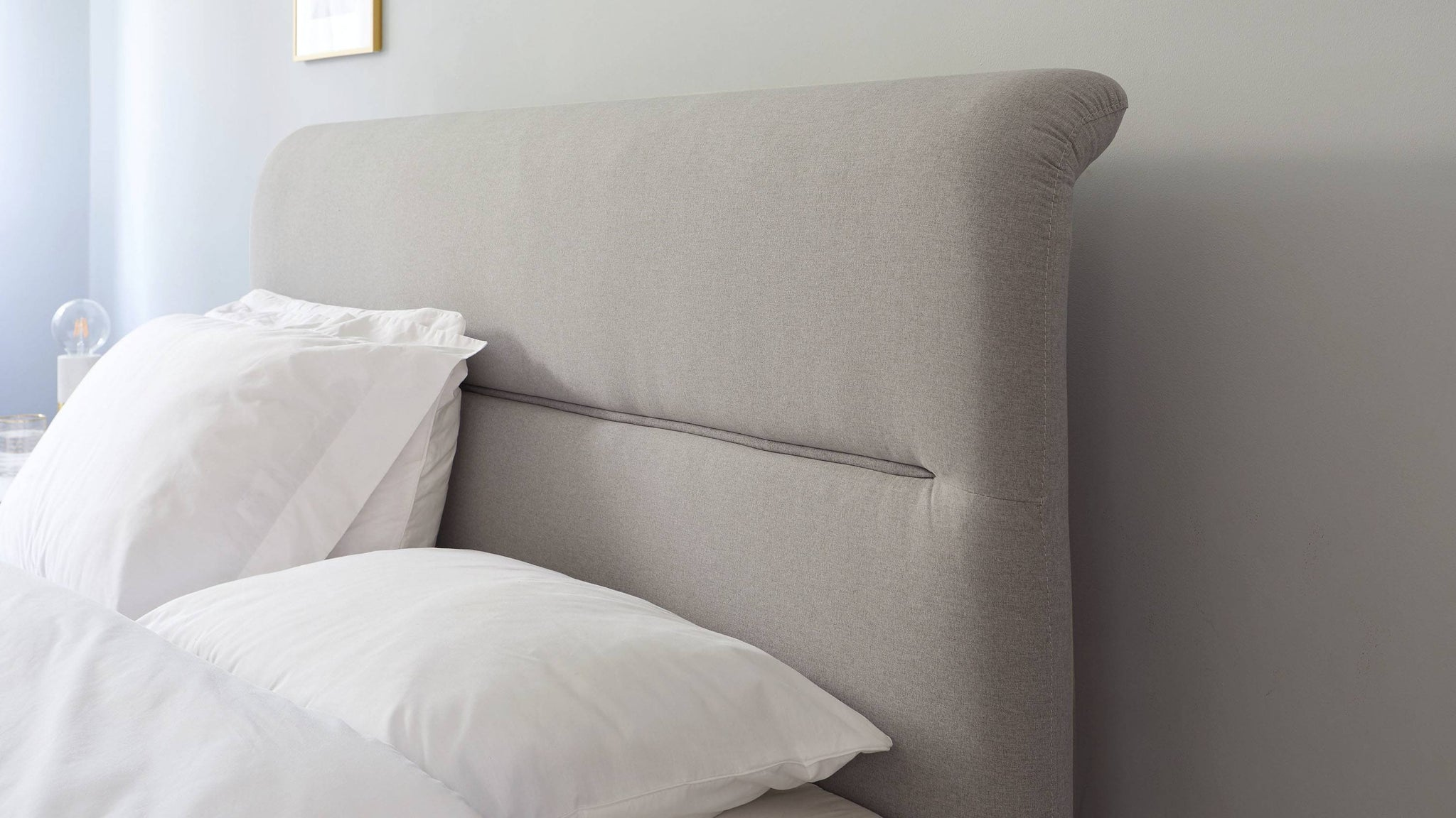 piped headboard storage bed