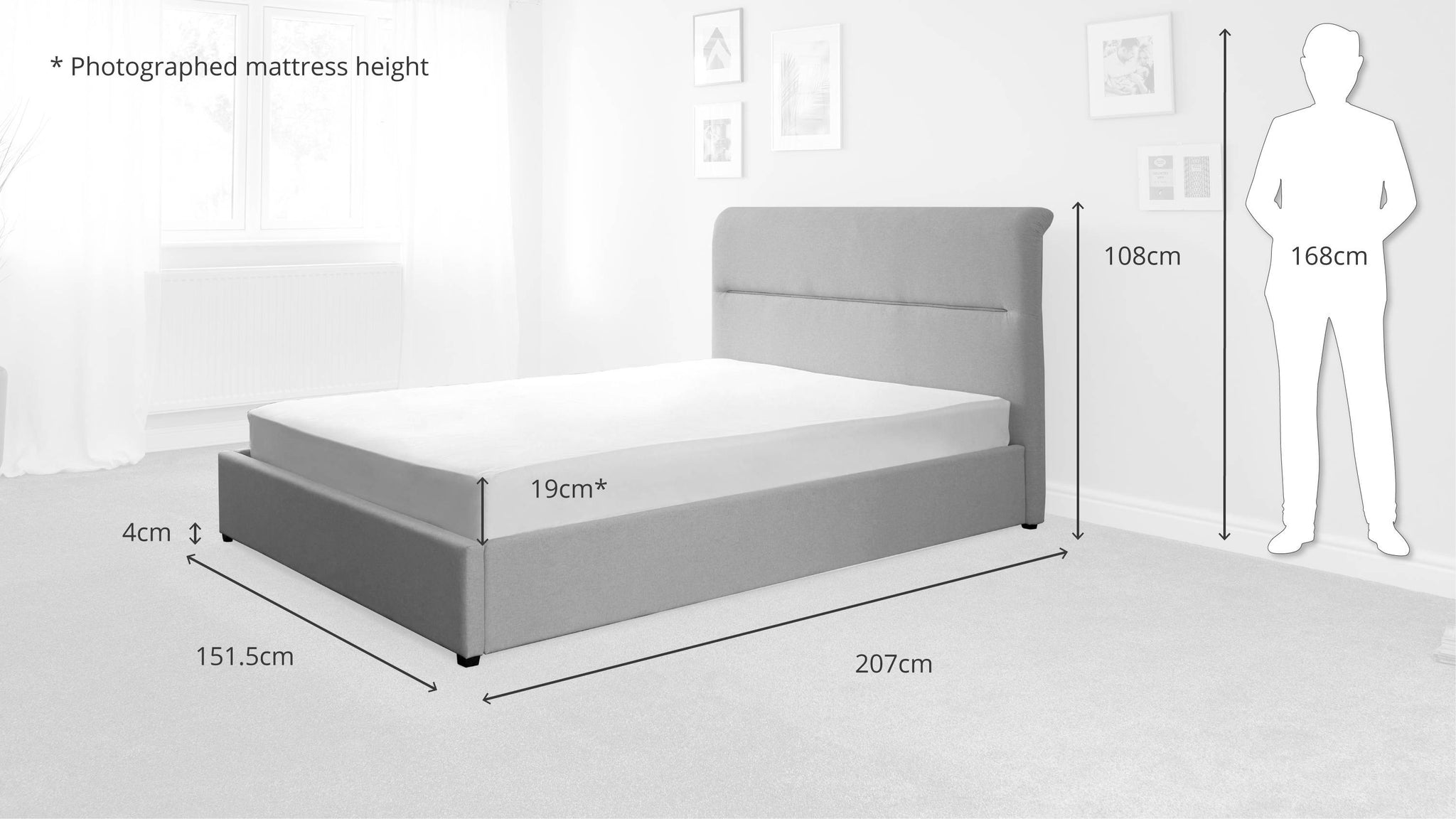 Pedro Pearl Grey Double Bed with Storage