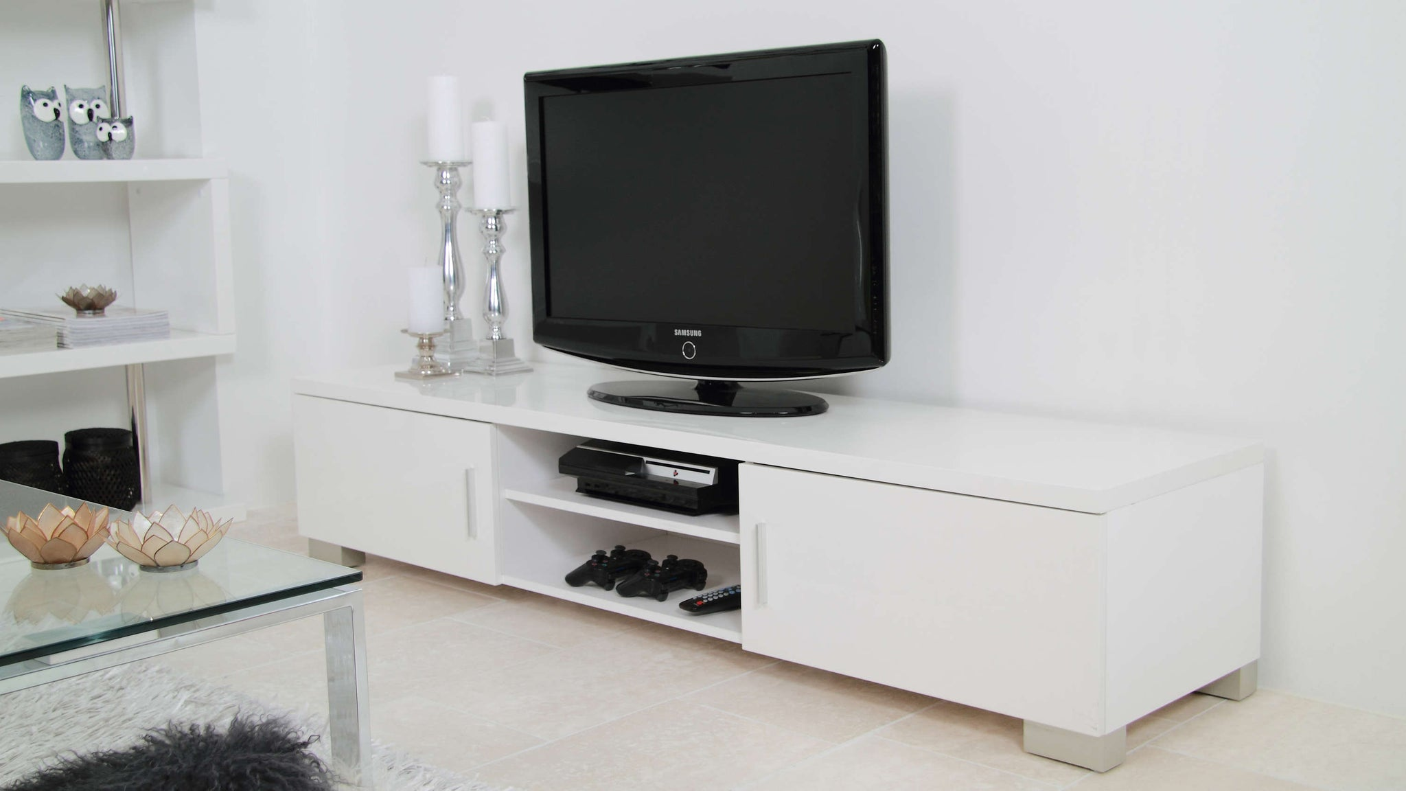 Large White Gloss TV Stand with Storage Space