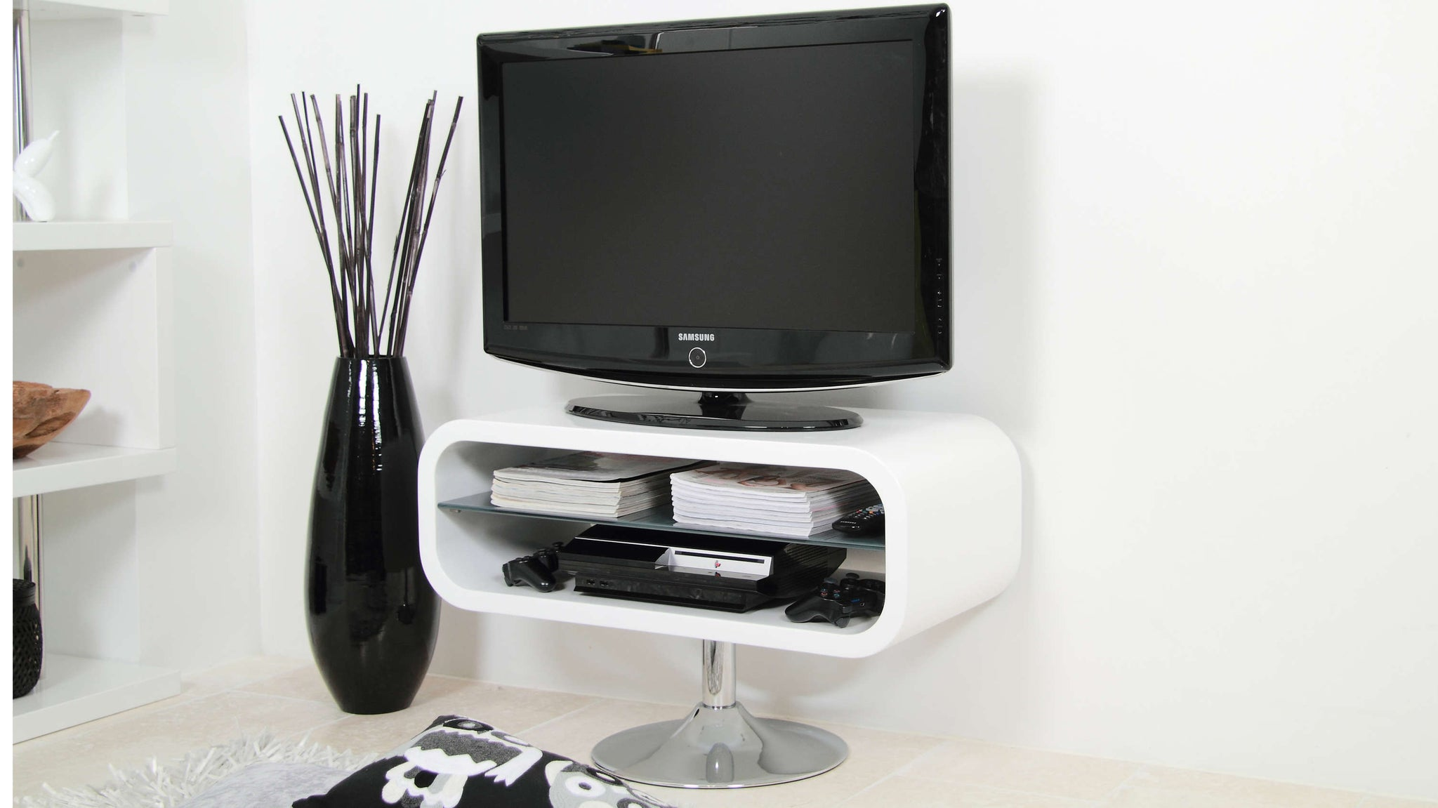 Contemporary Small White TV Stand UK