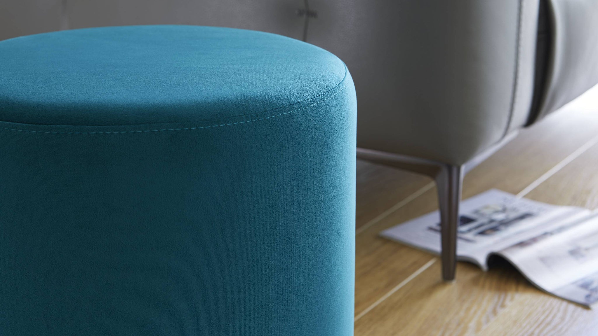 Soft velvet teal stool