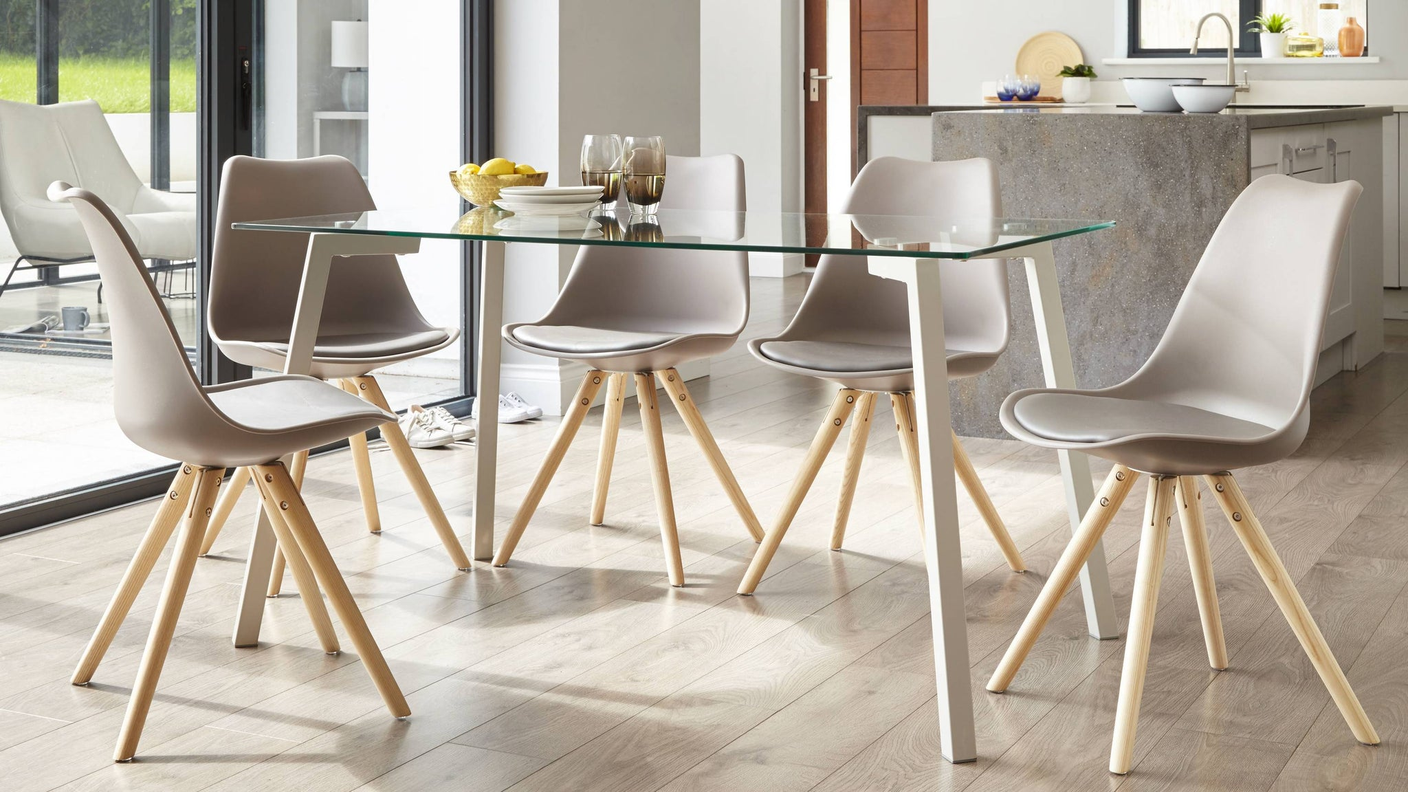 Glass six seater dining set