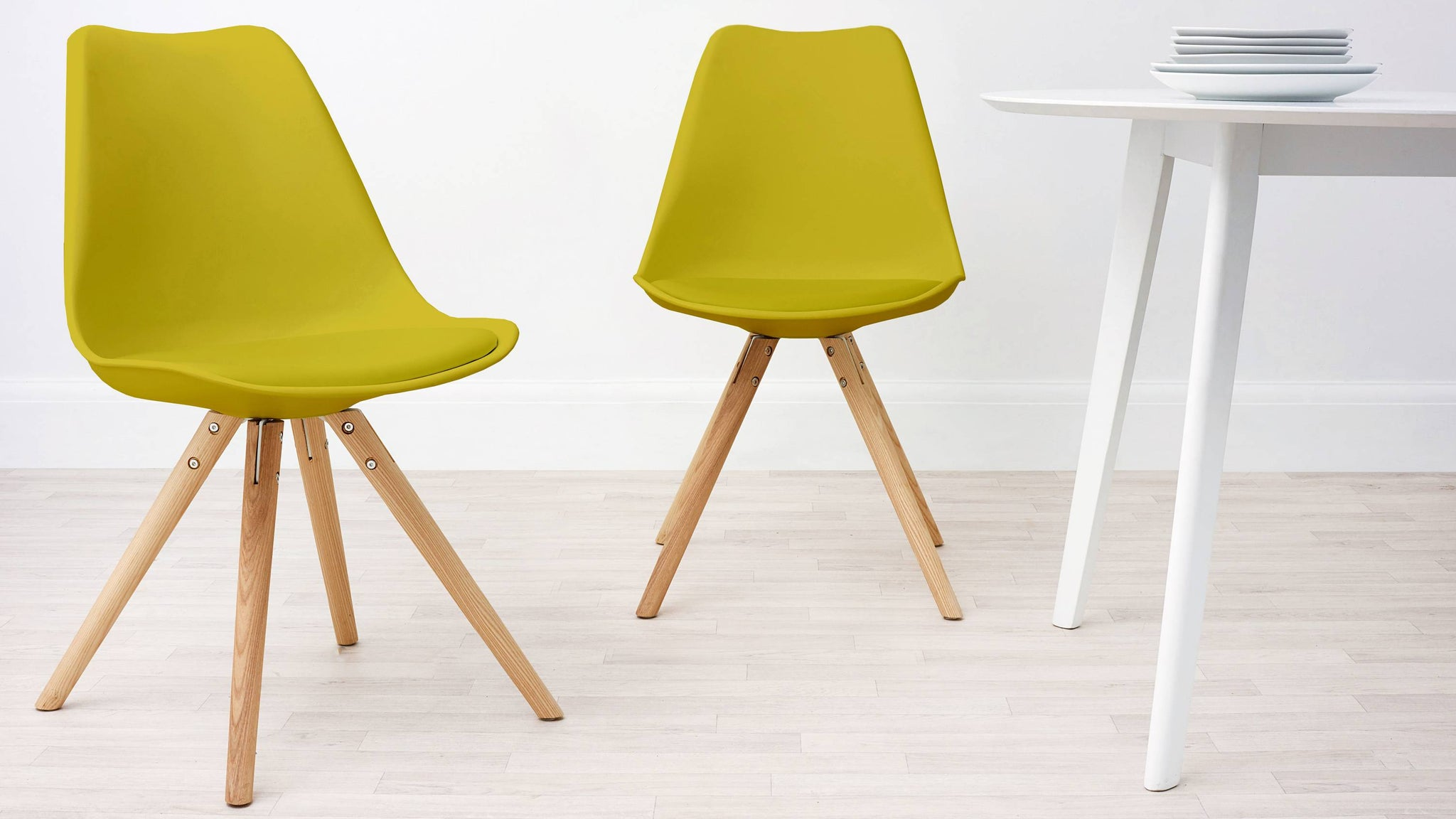 yellow plastic plastic dining chairs with cushion