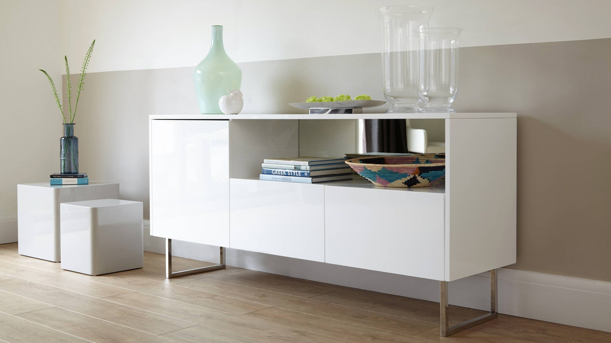 white gloss and chrome sideboard
