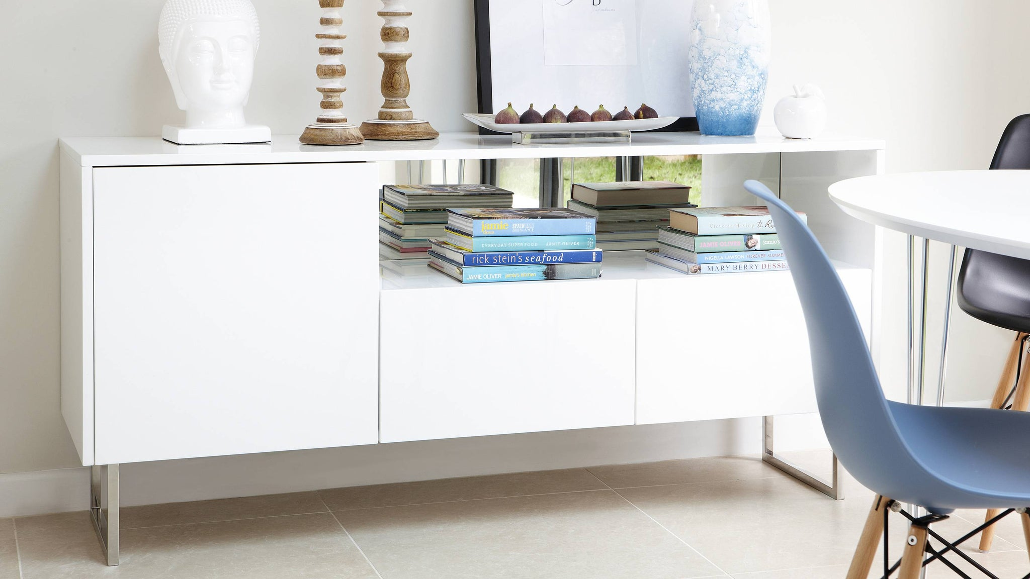white gloss reflect sideboard