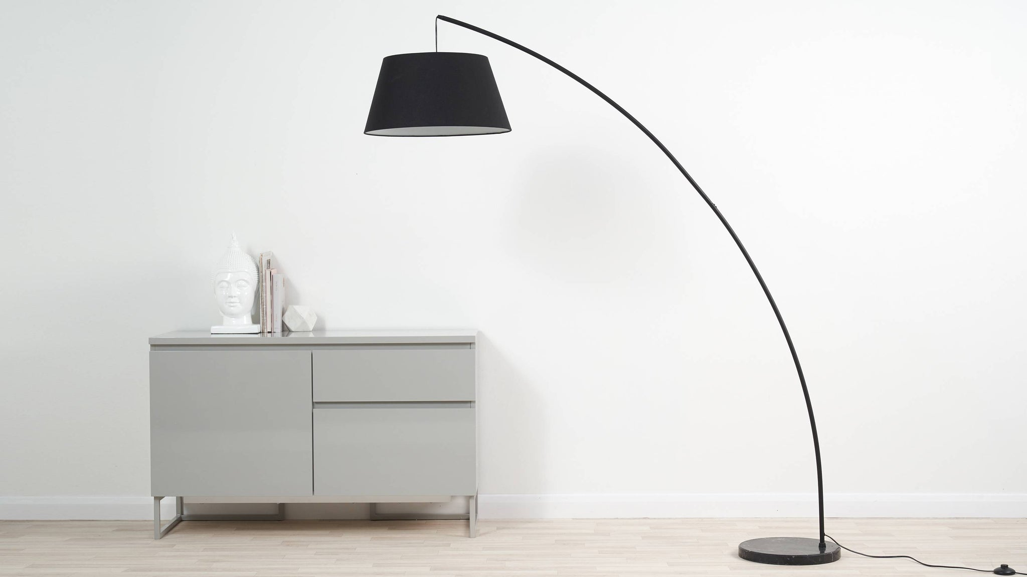 Rey Black Marble Arc Floor Lamp