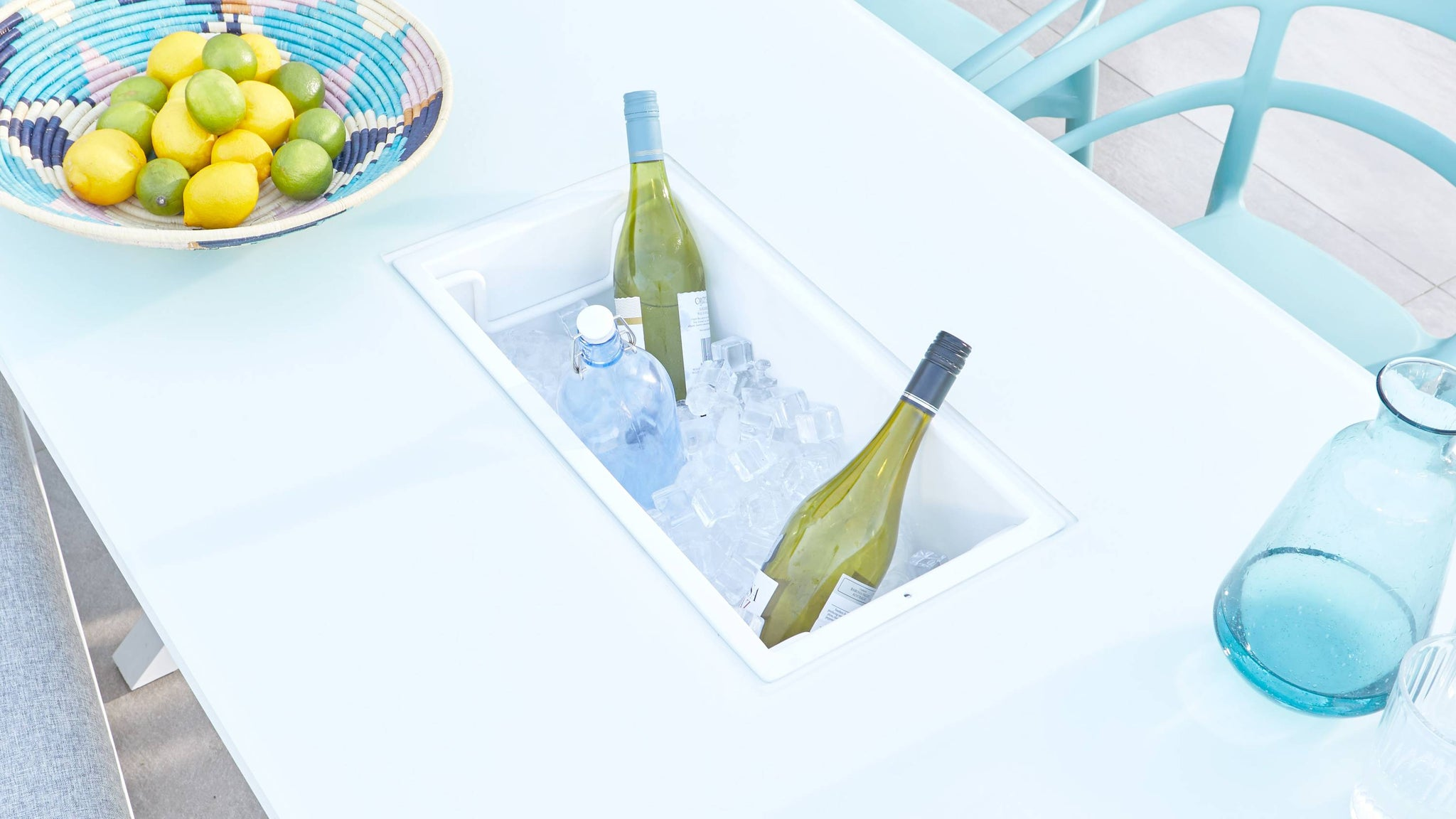 Ice bucket in outdoor dining table