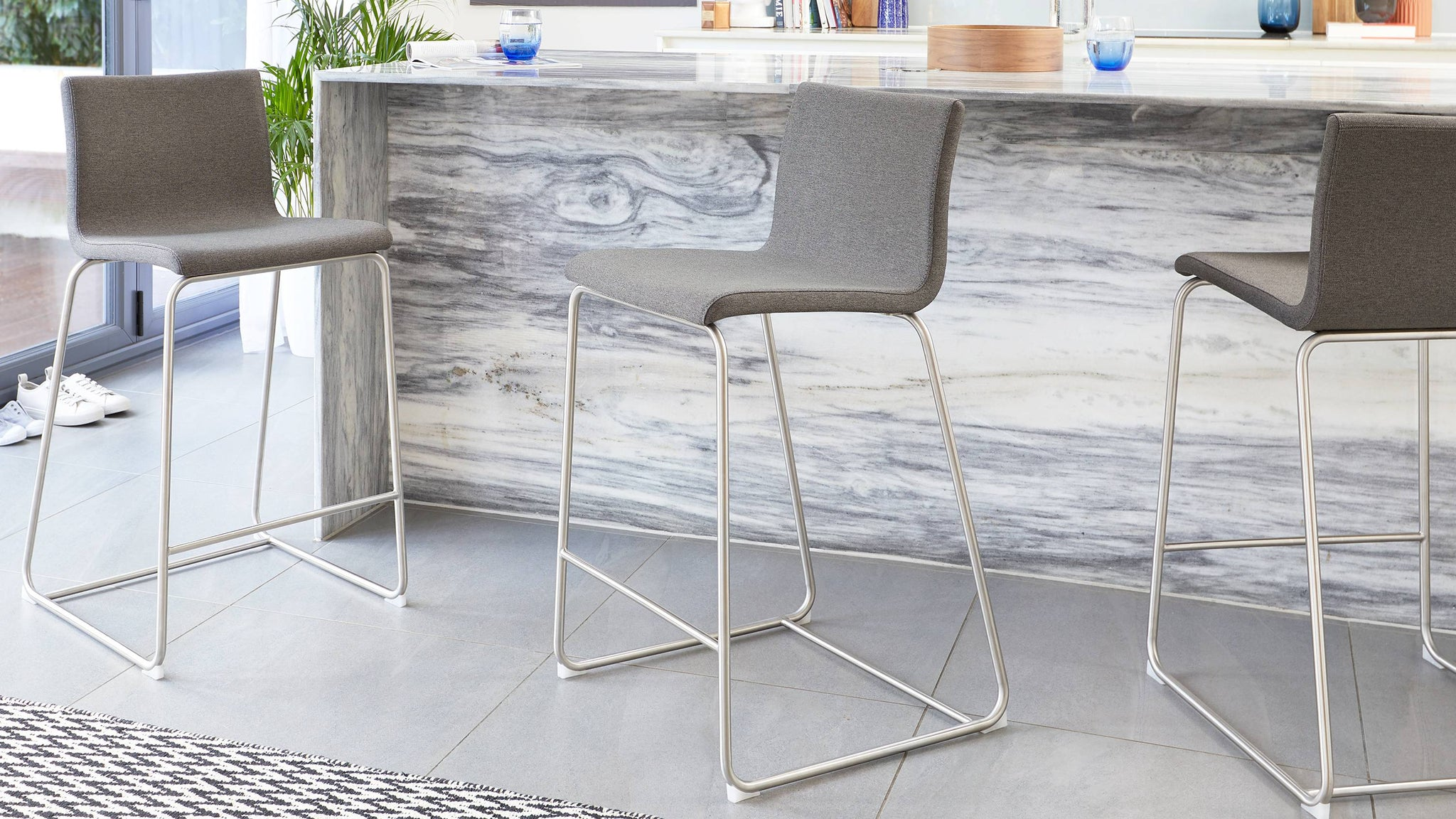 Dark grey fabric bar stools