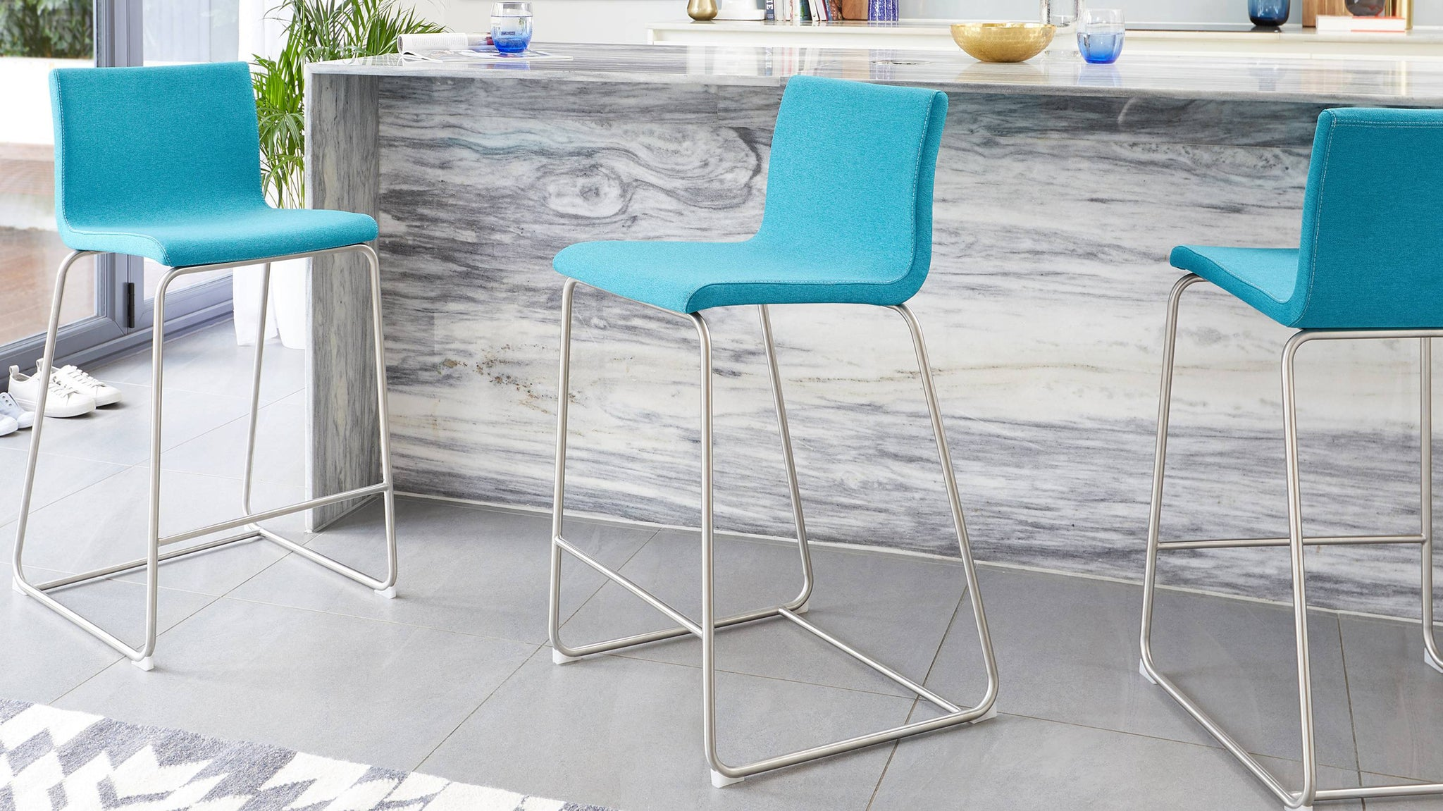 Teal fabric bar stools
