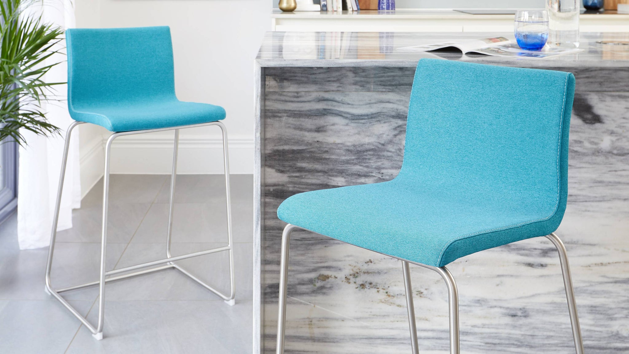 Comfortable fabric bar stools