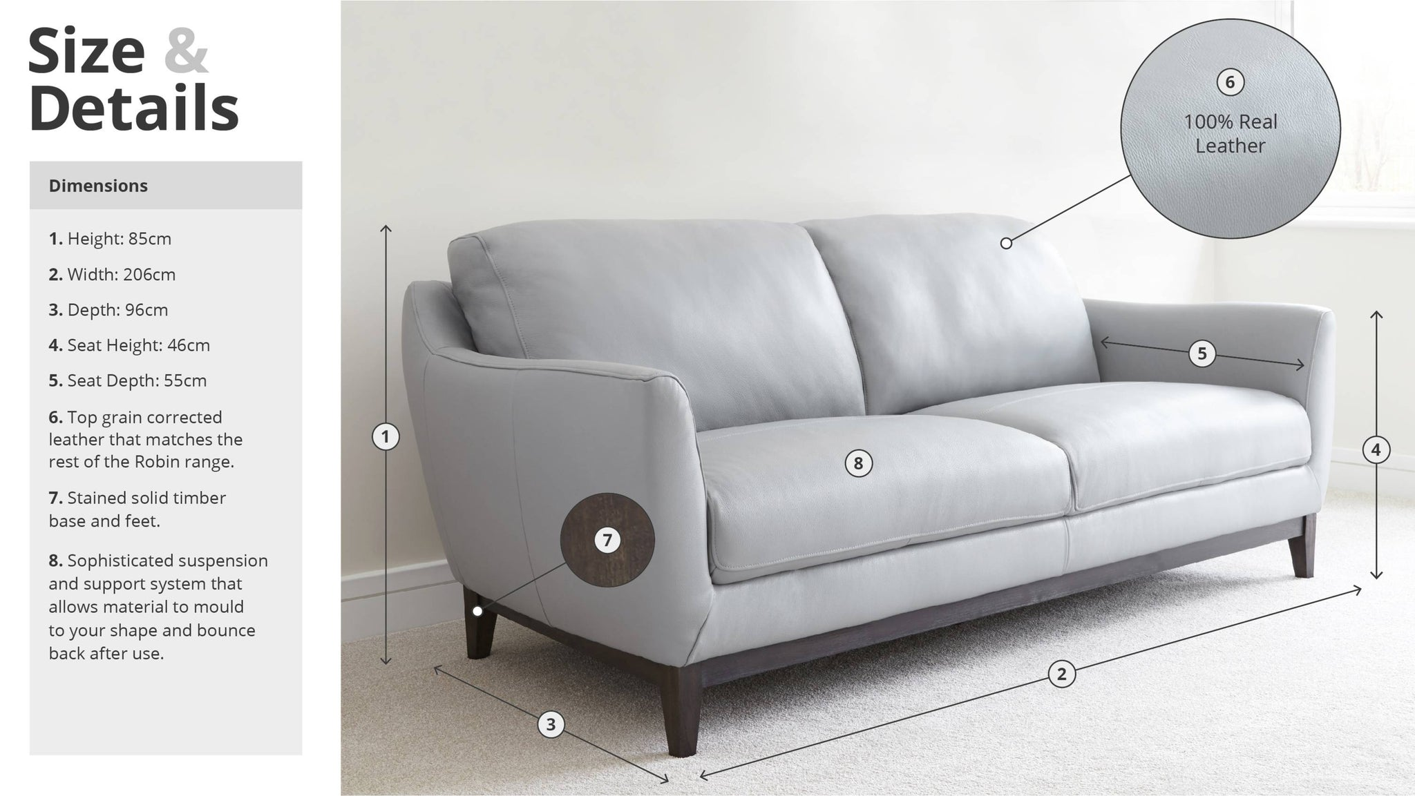 Three Seater Modern Grey Sofa Size and Details