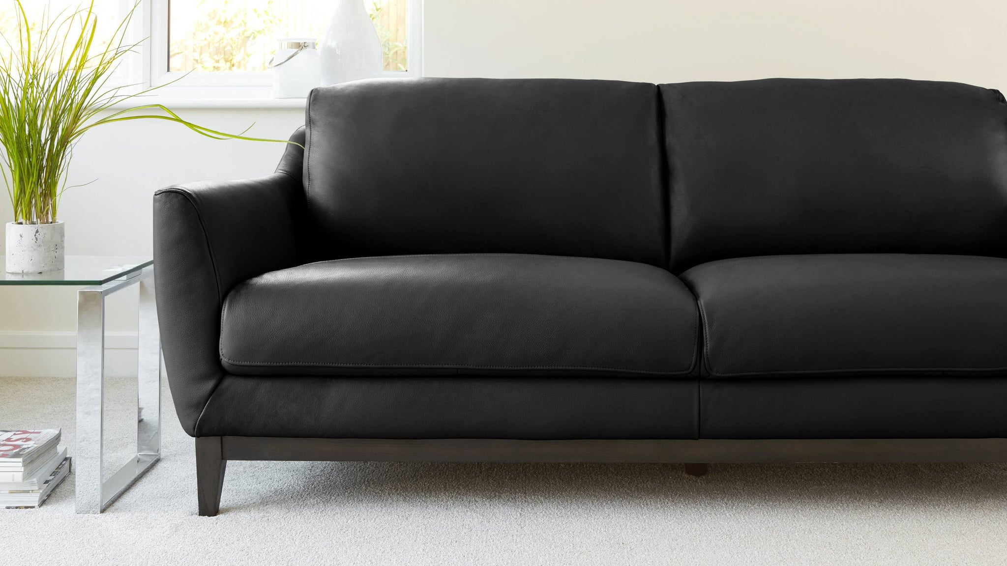 Black 2-3 Seater Leather Sofa