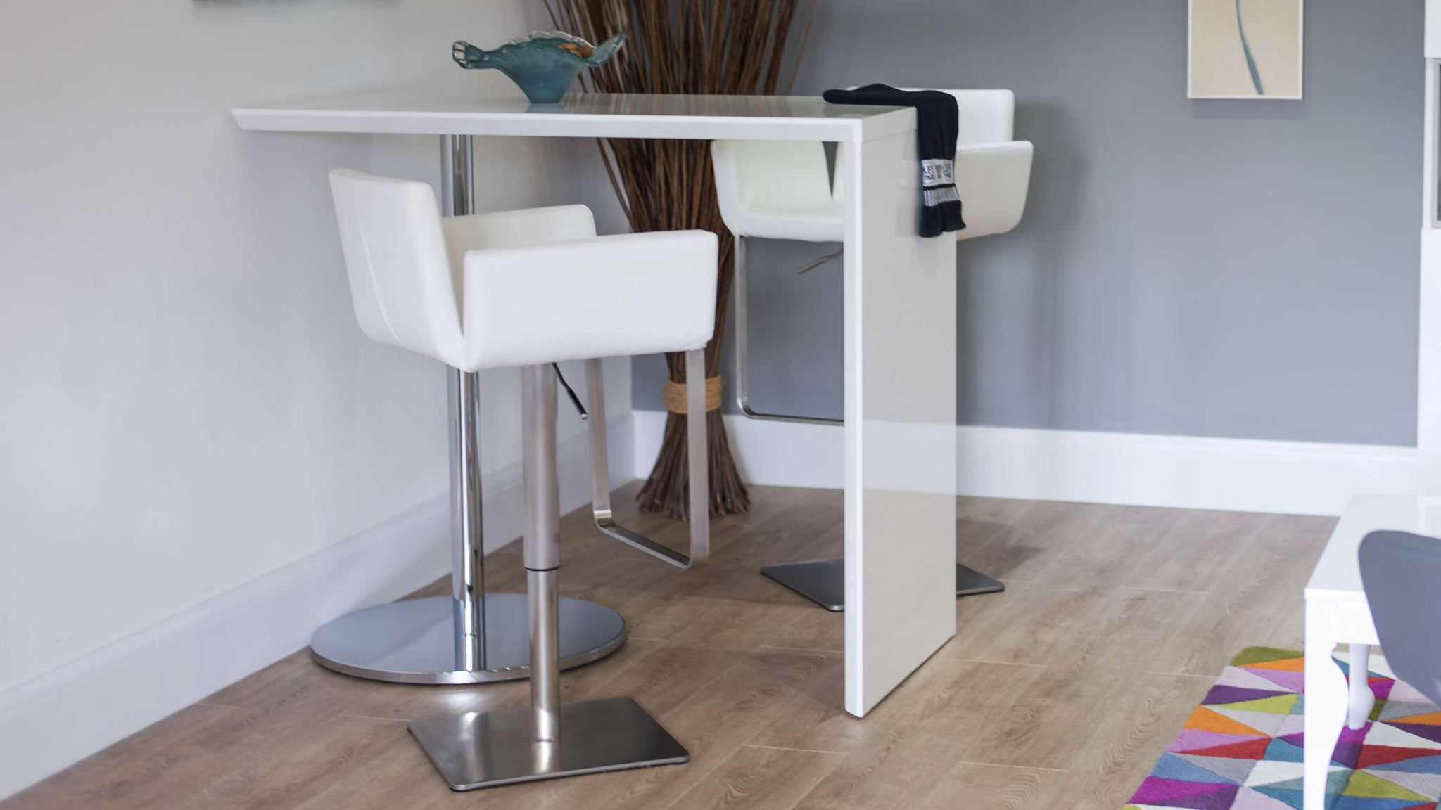White Bar Stools with Back and Arm Rests