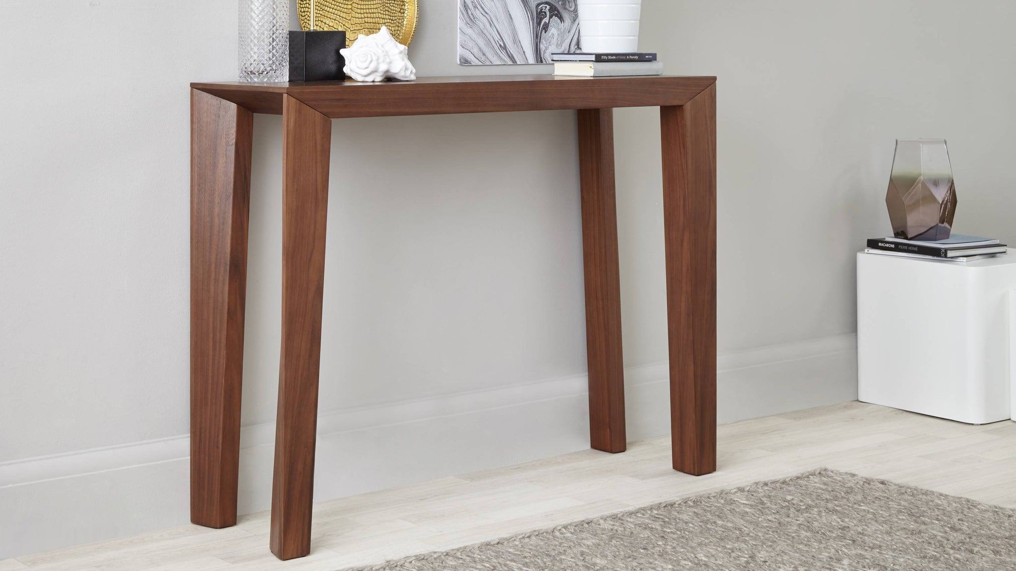 Modern Walnut Veneer Console Table