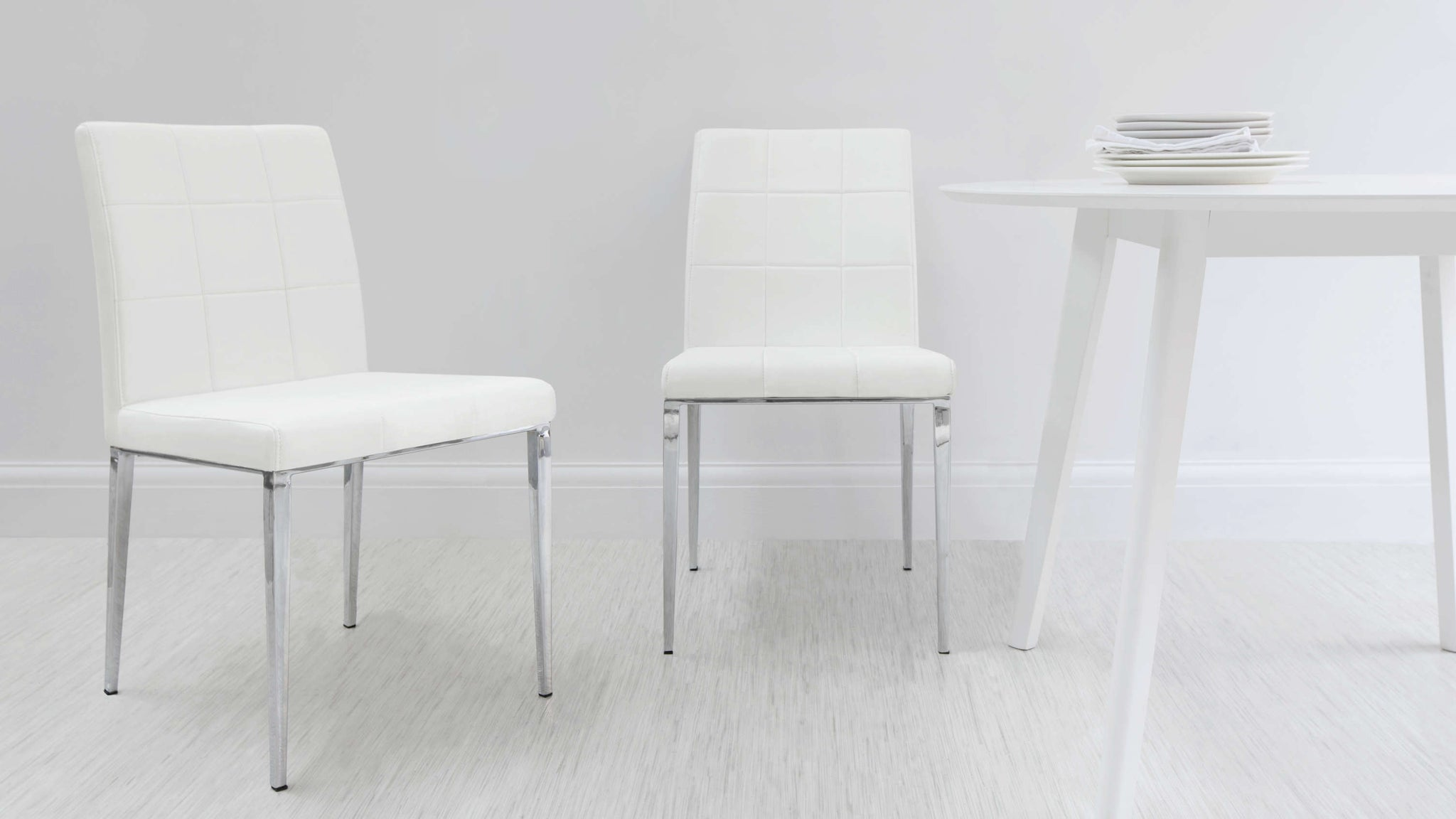 White Dining Chairs with Chrome Legs