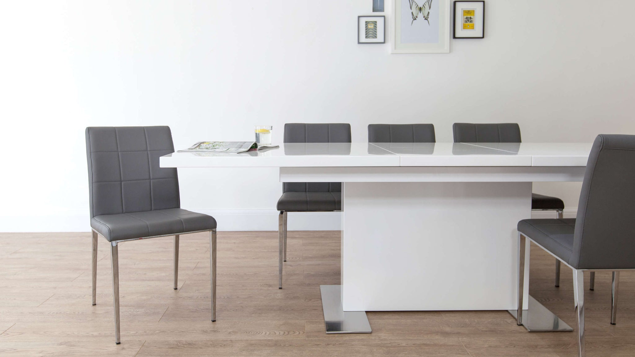Modern Dining Chairs and White Gloss Extending Dining Set
