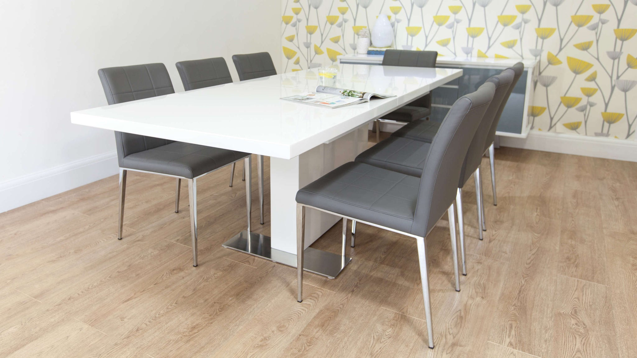 Grey Leather Dining Chairs and White Gloss Dining Table