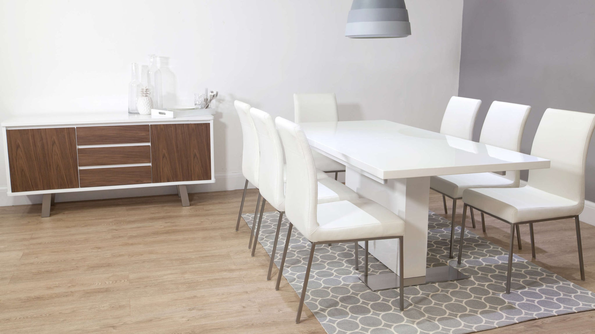 Mid-Century Modern White Extending Dining Set