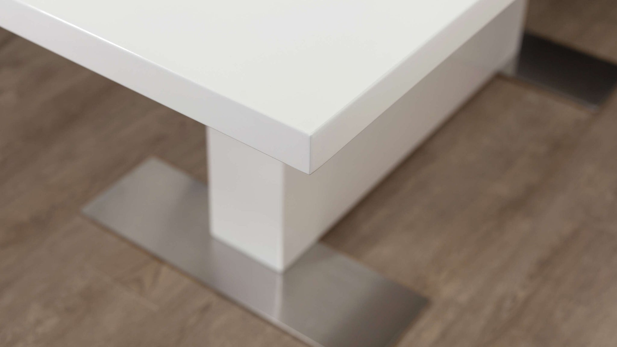 White Gloss and Brushed Metal Extending Dining Table