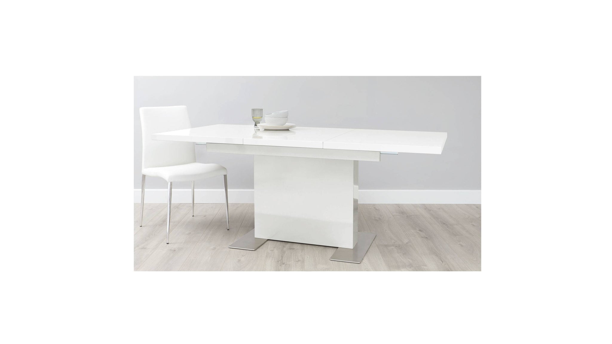 White gloss large dining table