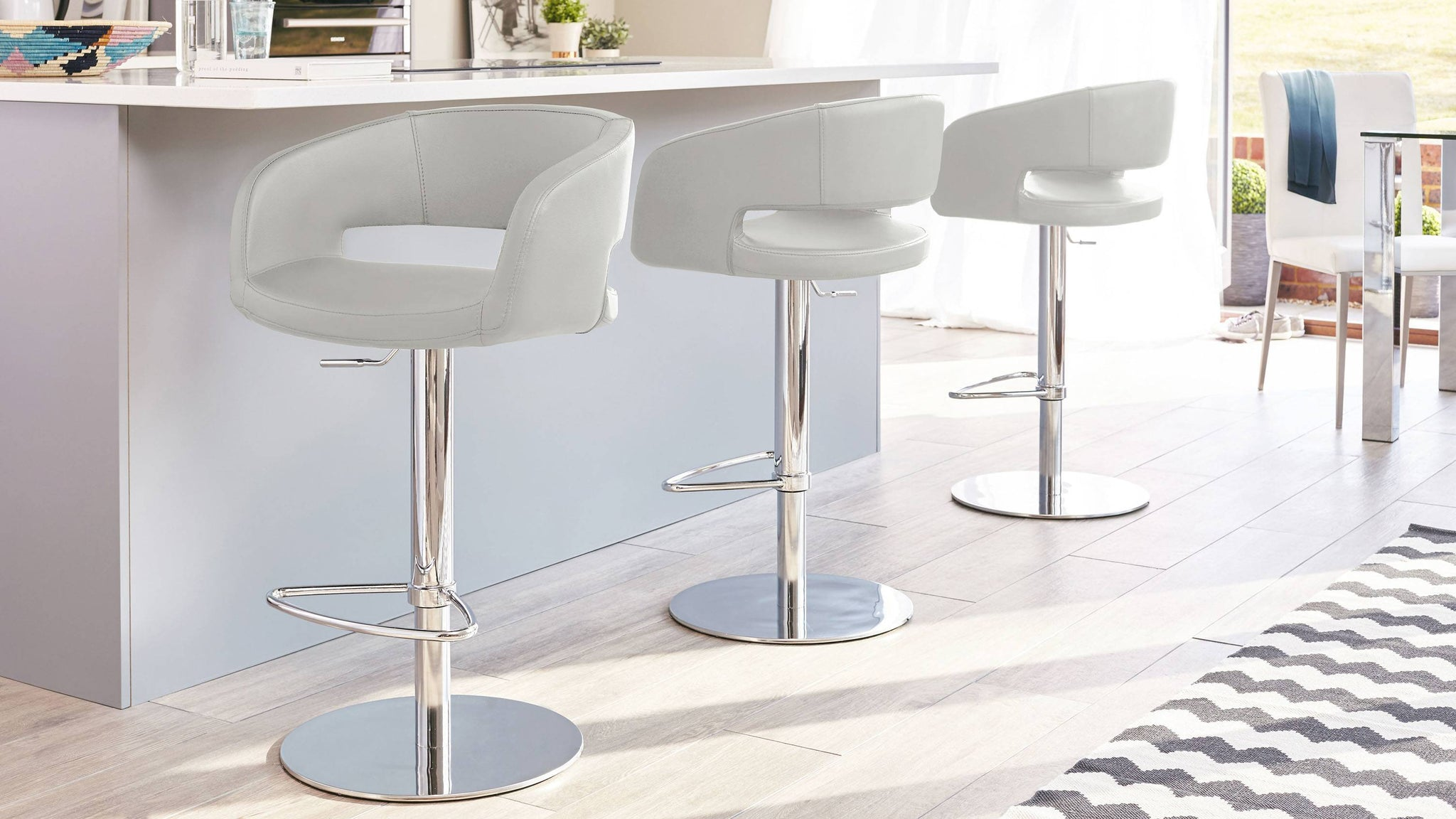 Contemporary Cool Grey Gas Lift Bar Stools