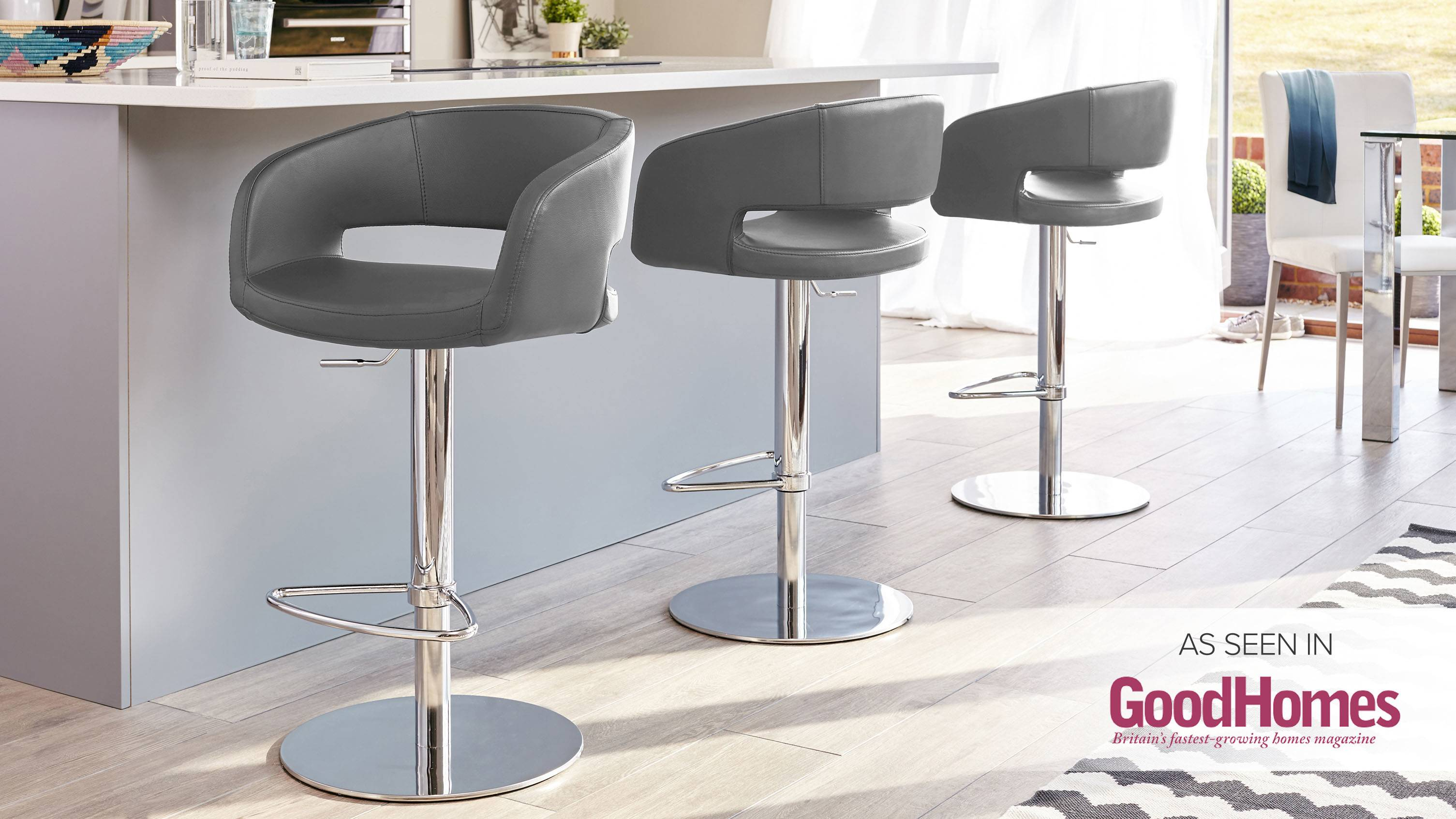 Savina Chrome Gas Lift Bar Stool Danetti