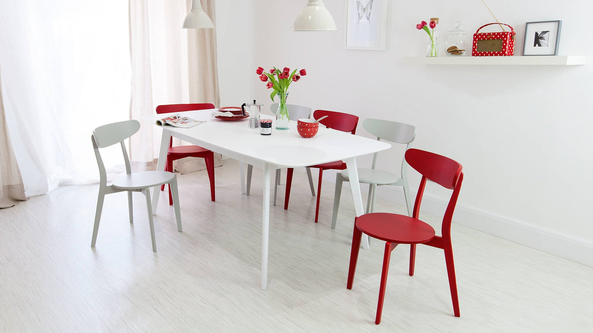 Colourful dining room chairs