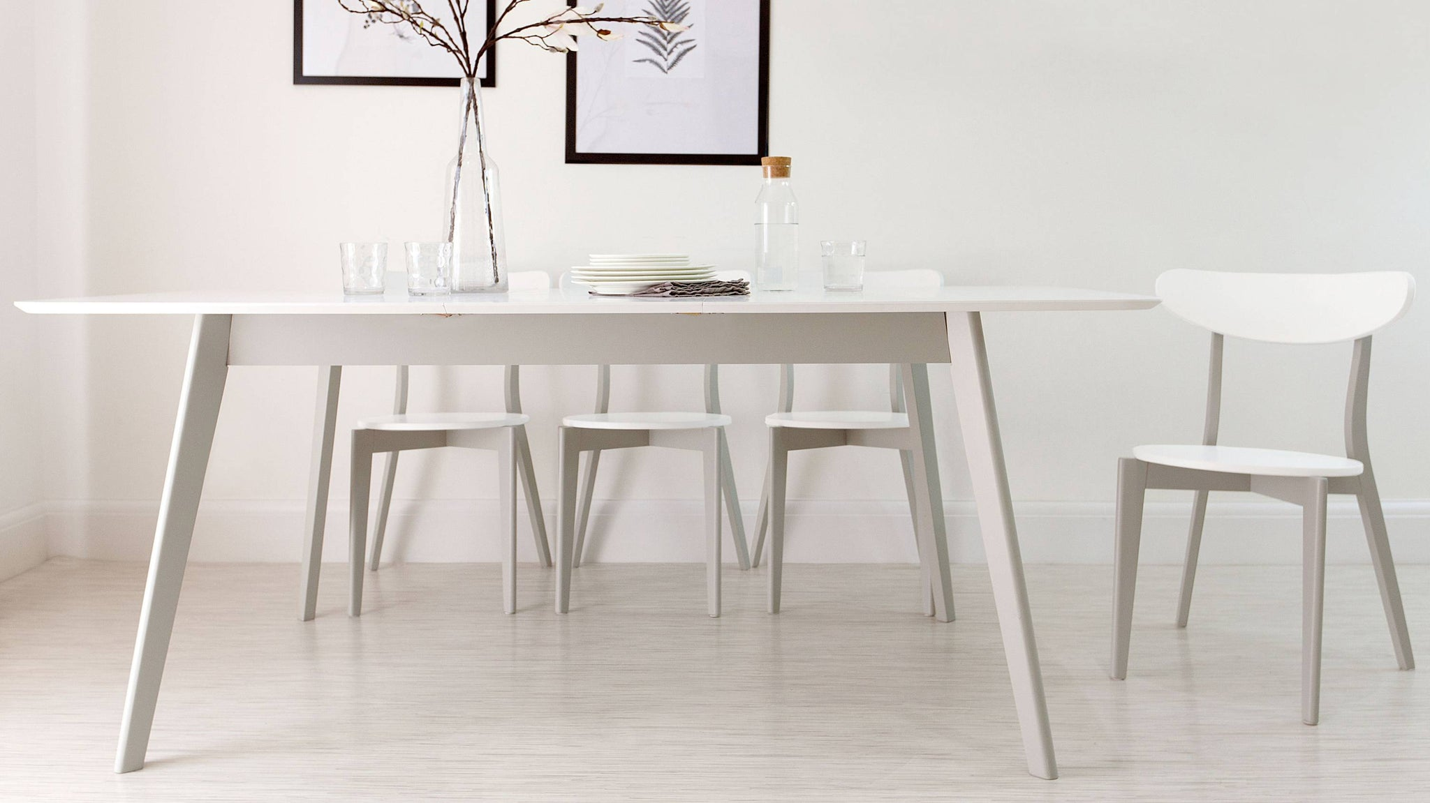 grey and white scandi style dining chair