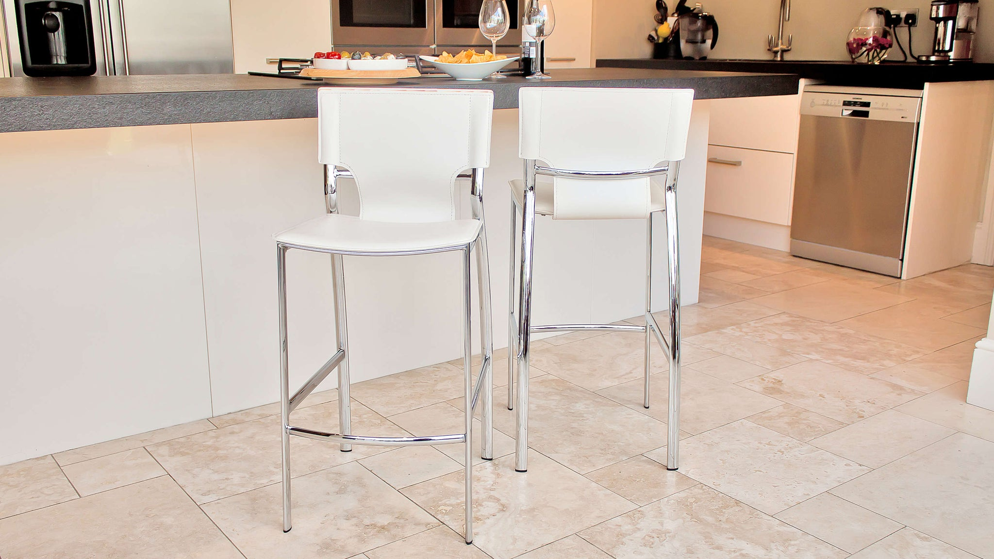 White Fixed Height Bar Stool