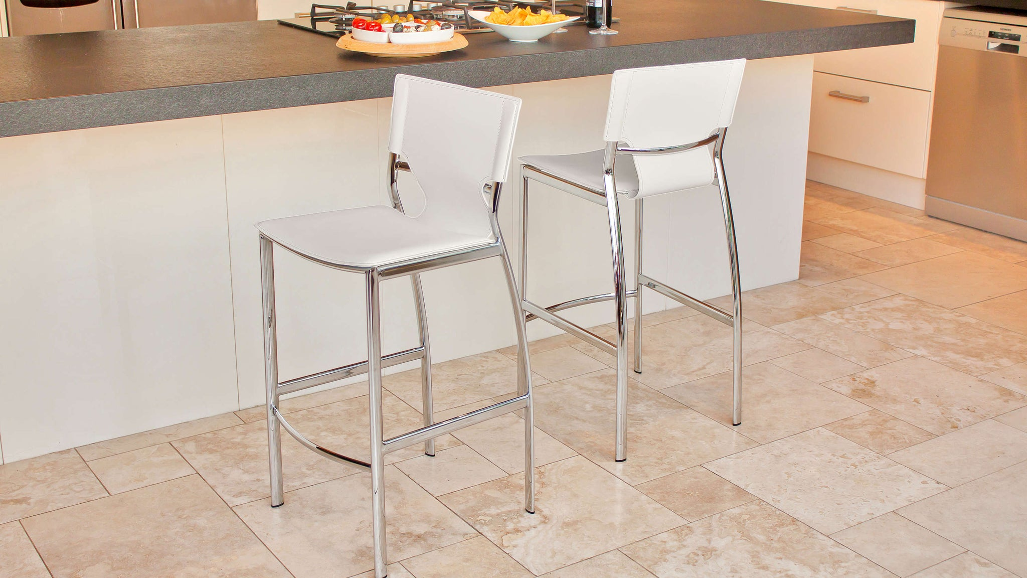 Chrome Legged Bar Stool