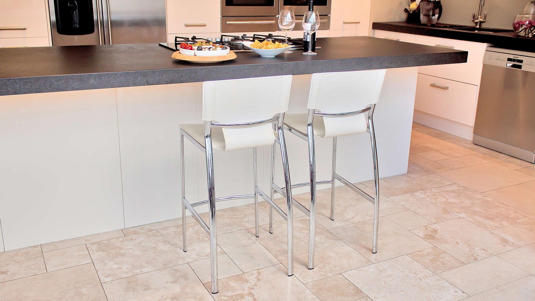 Comfortable White Bar Stools with Chrome Legs