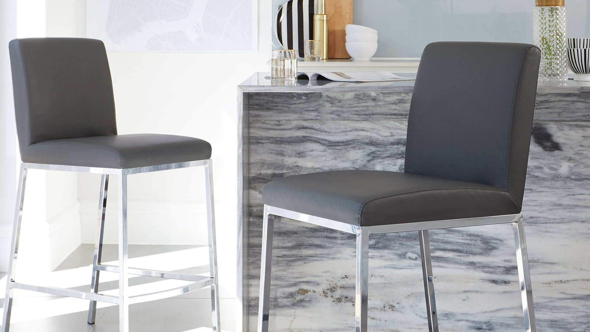 dark grey bar stools