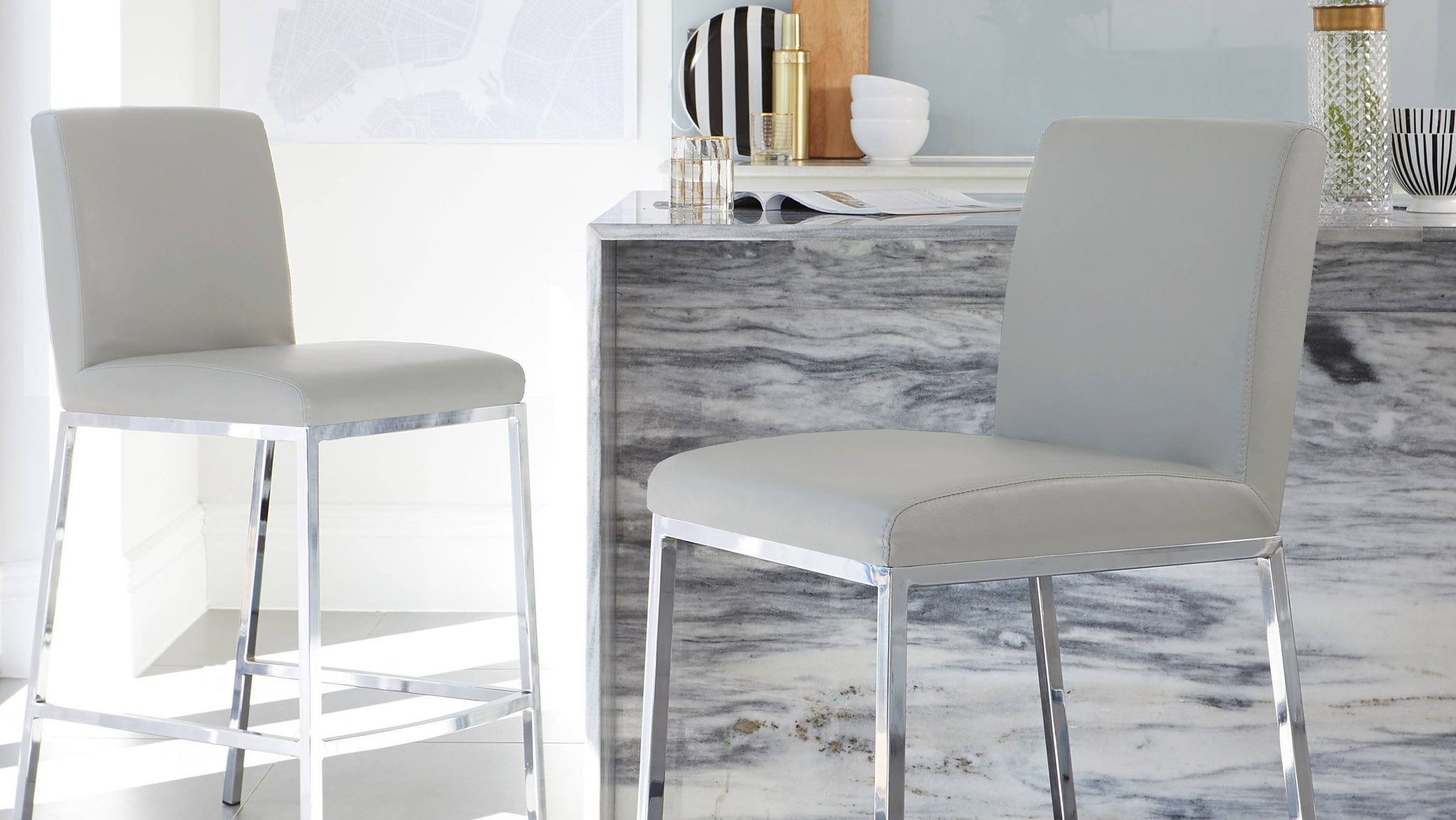 light grey bar stools