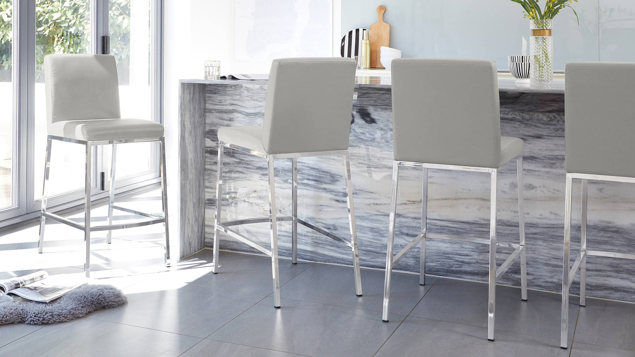 light grey chrome bar stools