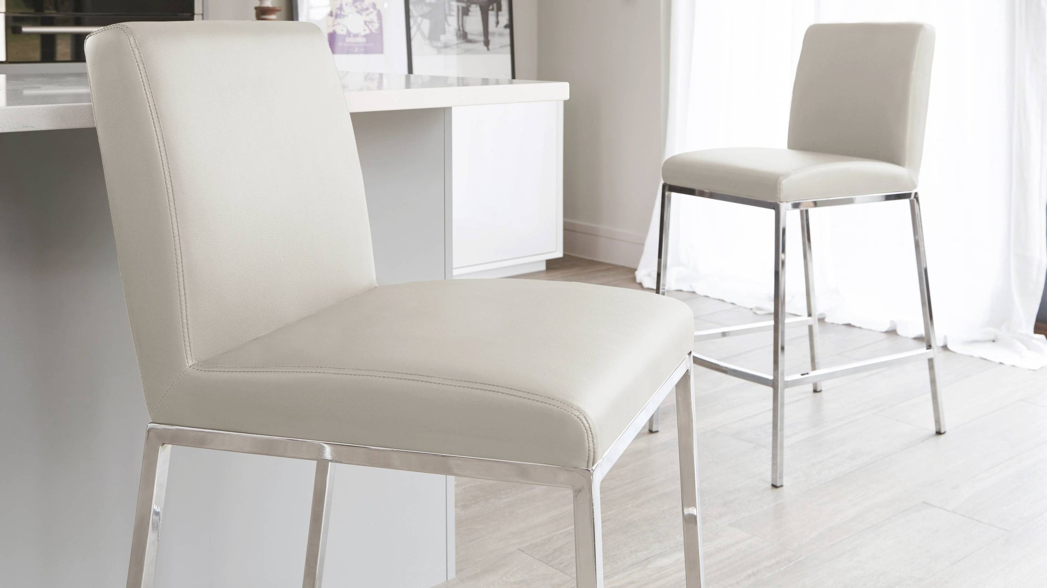 Modern Grey Fixed Height Bar Stool