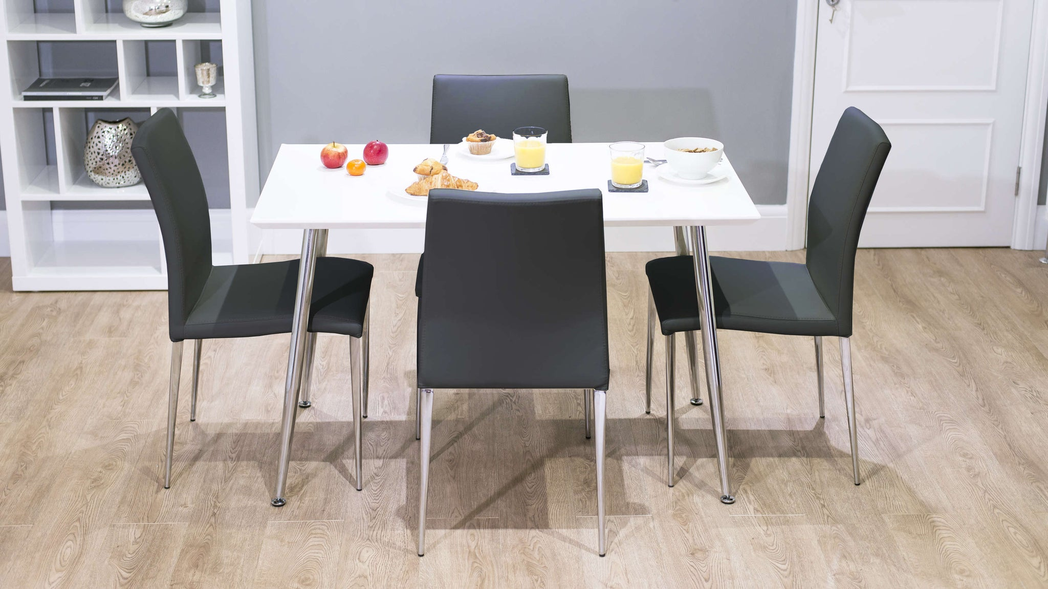 4 Seater White Dining Table and Black Dining Chairs