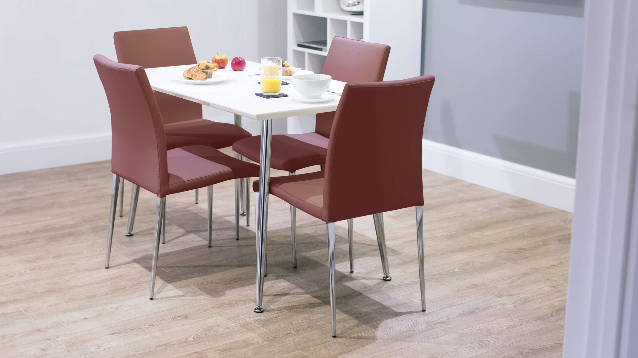 Modern White Gloss Dining Table and Red Dining Chairs