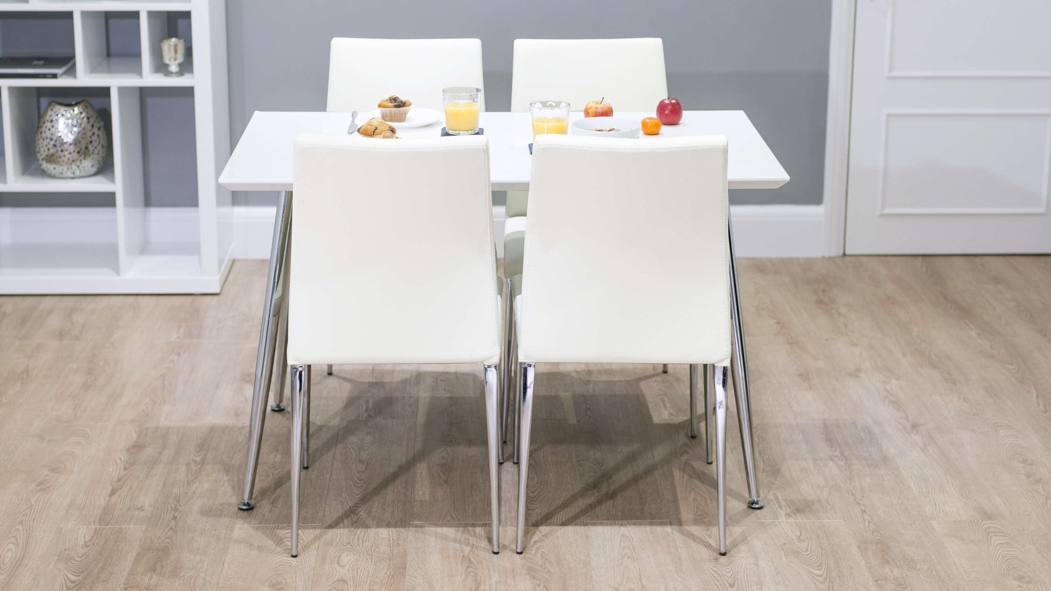 Rectangular White Gloss Dining Table and White Dining Chairs