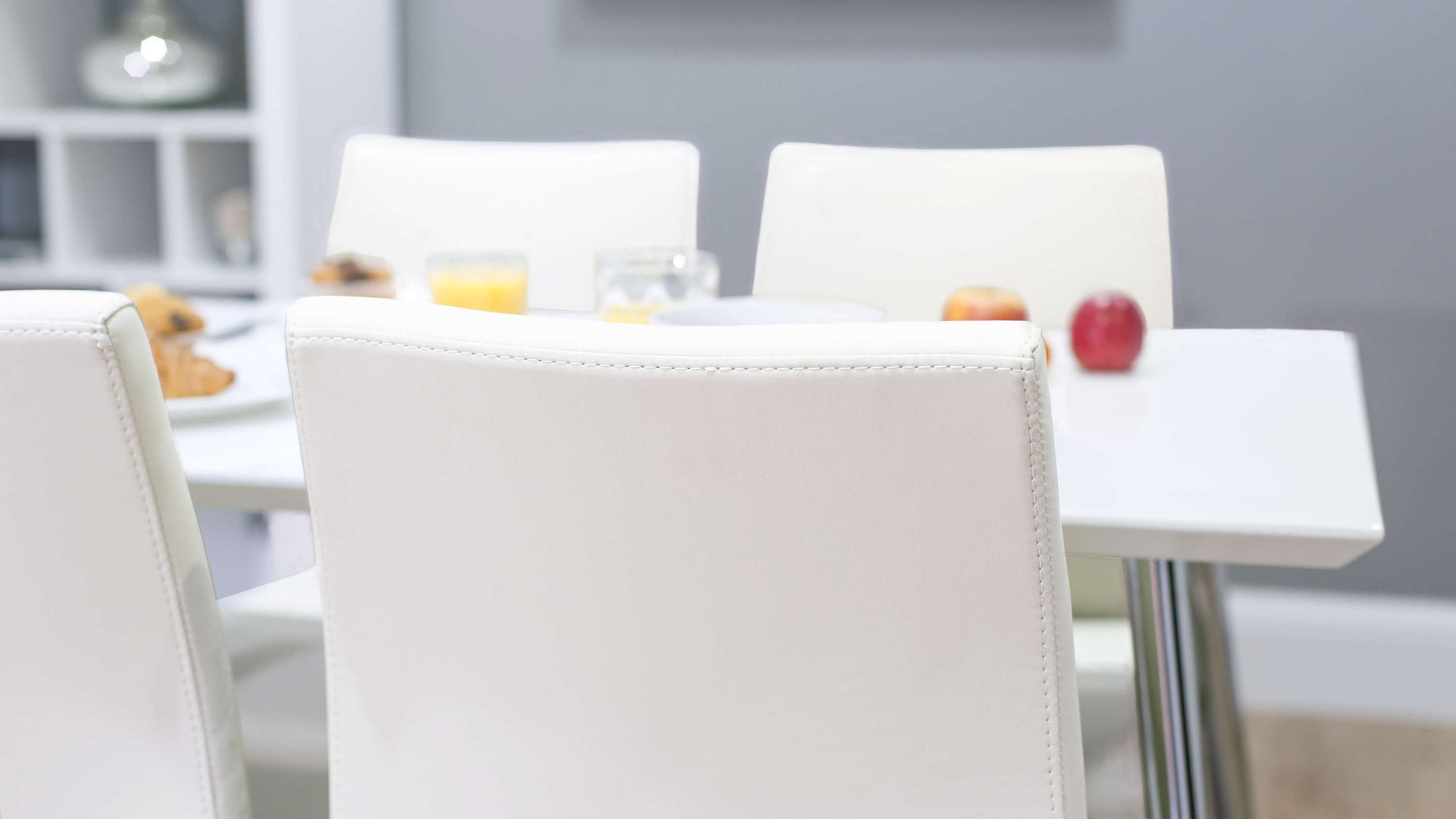 White Dining Chairs and Small White Gloss Dining Table
