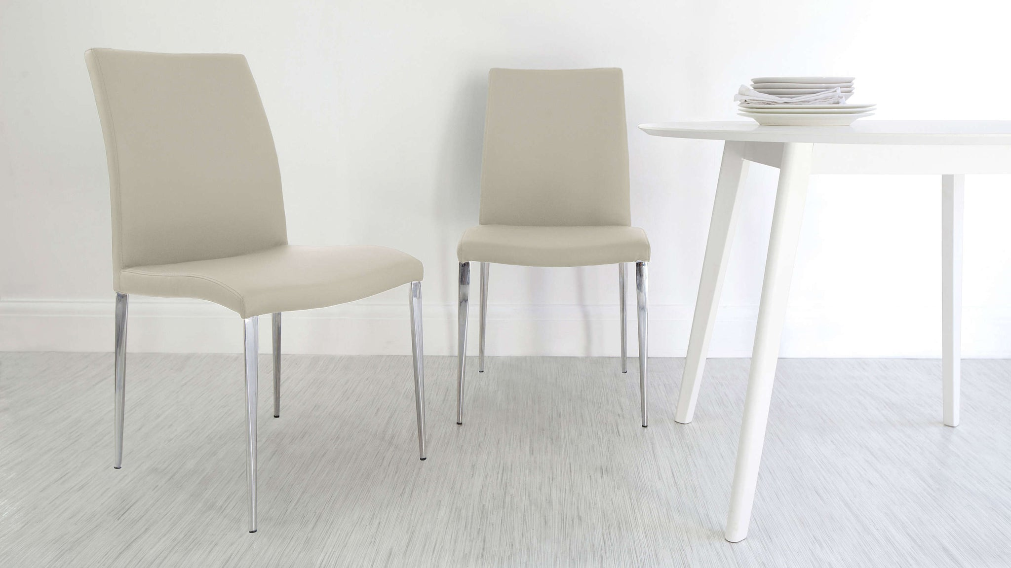 High Backed Beige Dining Chairs