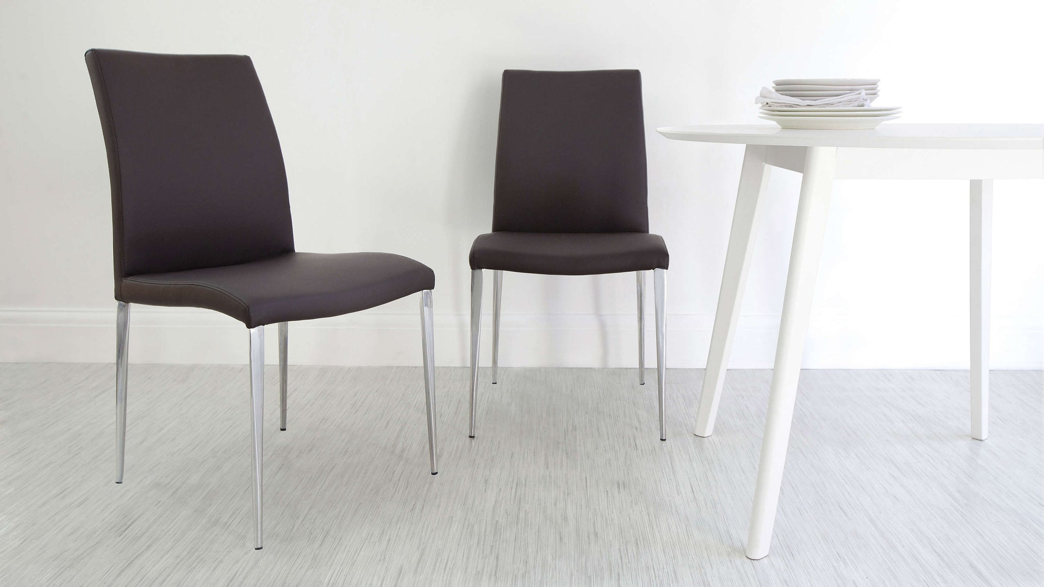 High Backed Brown Dining Chairs