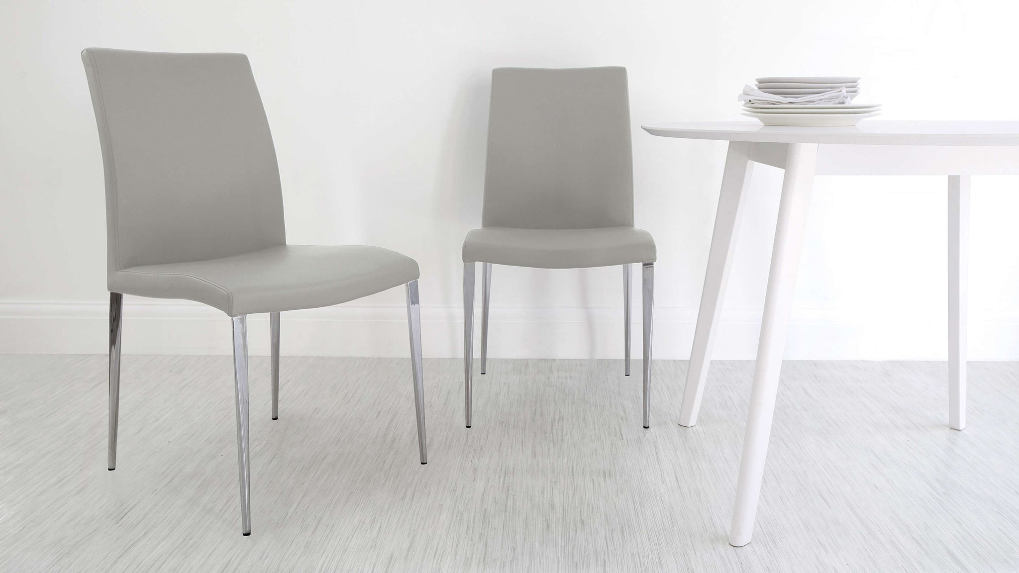High Backed Light Grey Dining Chairs