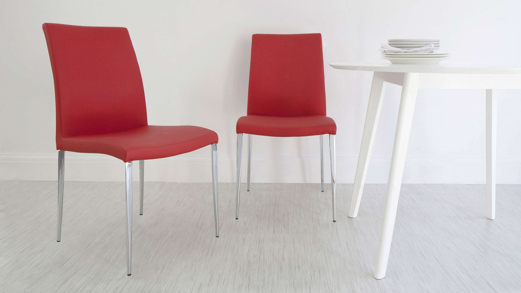 High Backed Red Dining Chairs