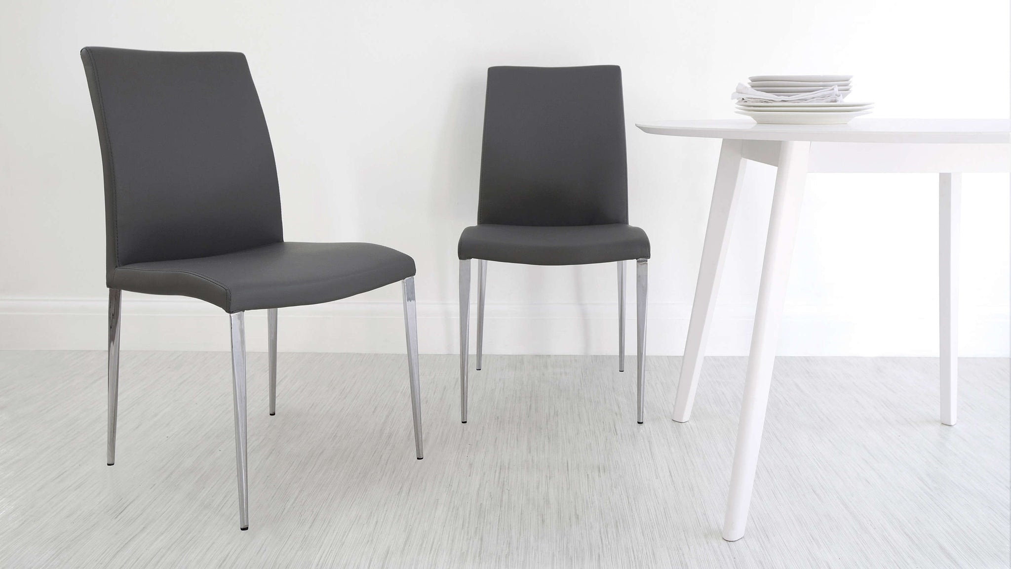 High Backed Dark Grey Dining Chairs