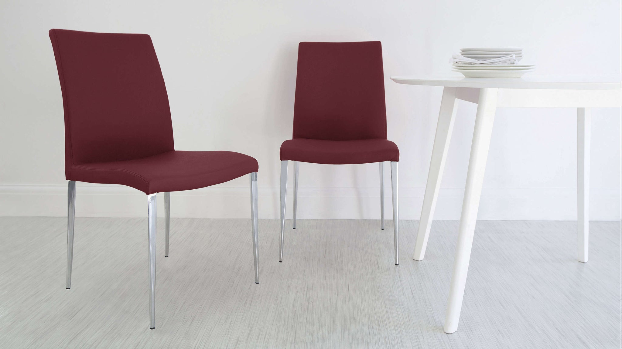 High Backed Dark Red Dining Chairs