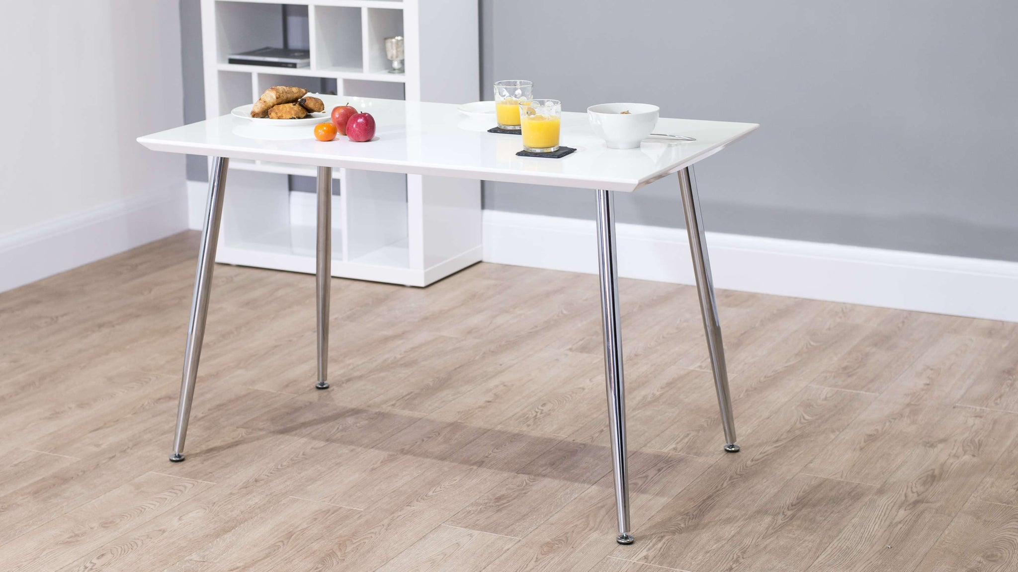 Modern 4 Seater White Gloss Dining Table