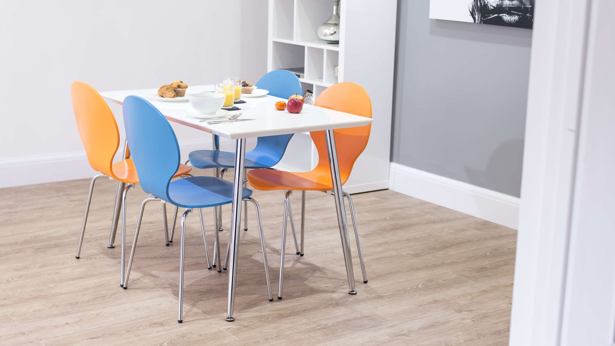 Colourful Dining Chairs and Small Kitchen Table