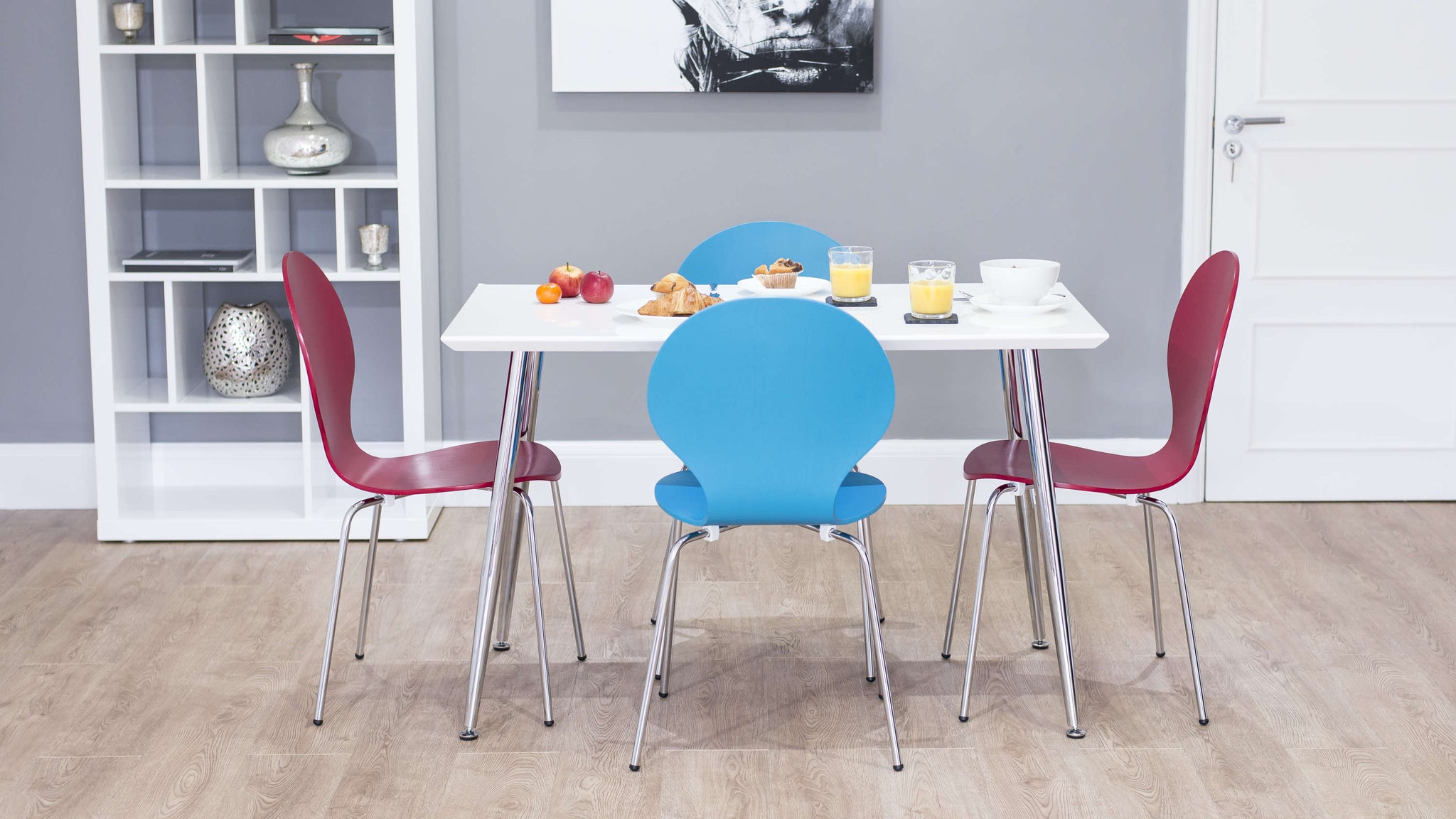 4 Seater Dining Table with Colourful Dining Chairs
