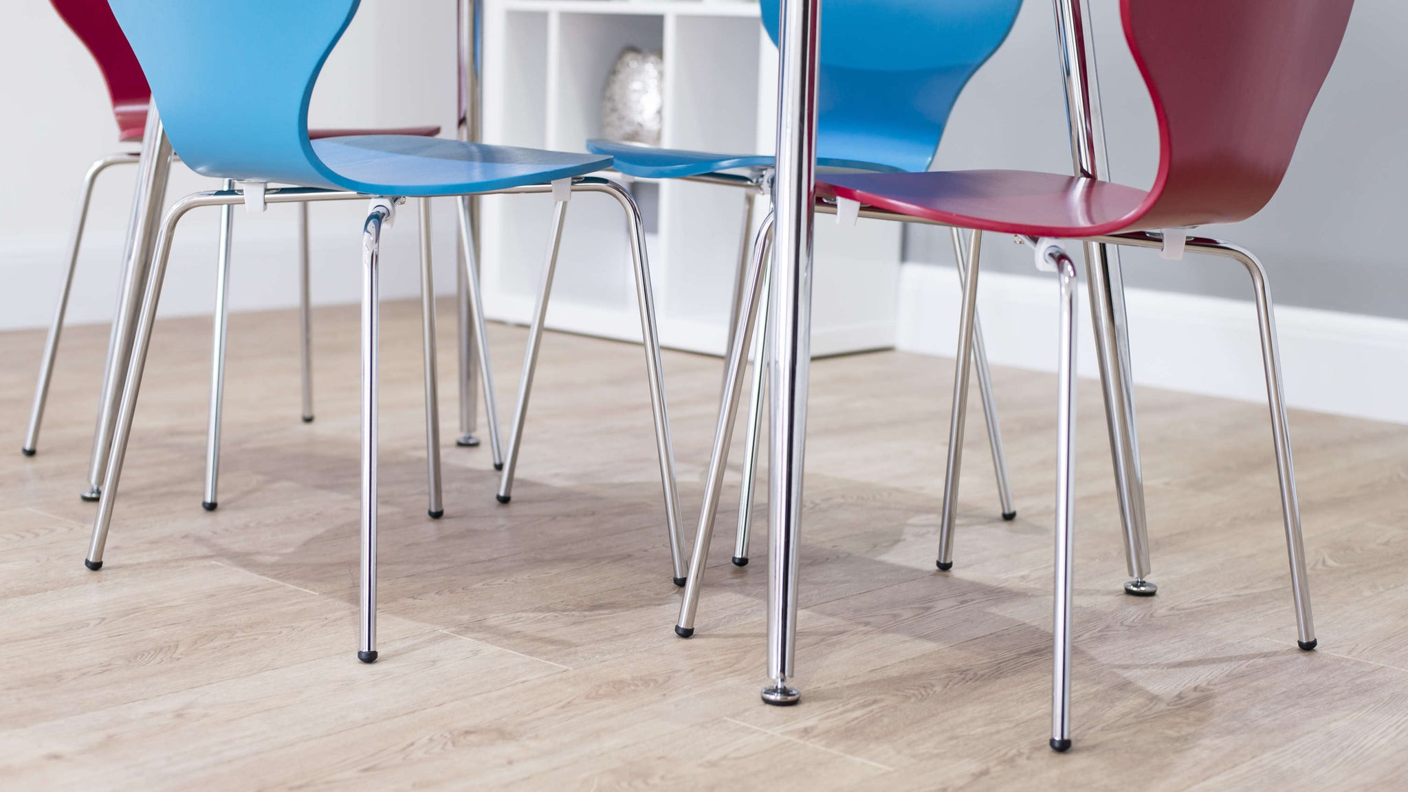Chrome Based Dining Chairs and Table with Floor Protectors