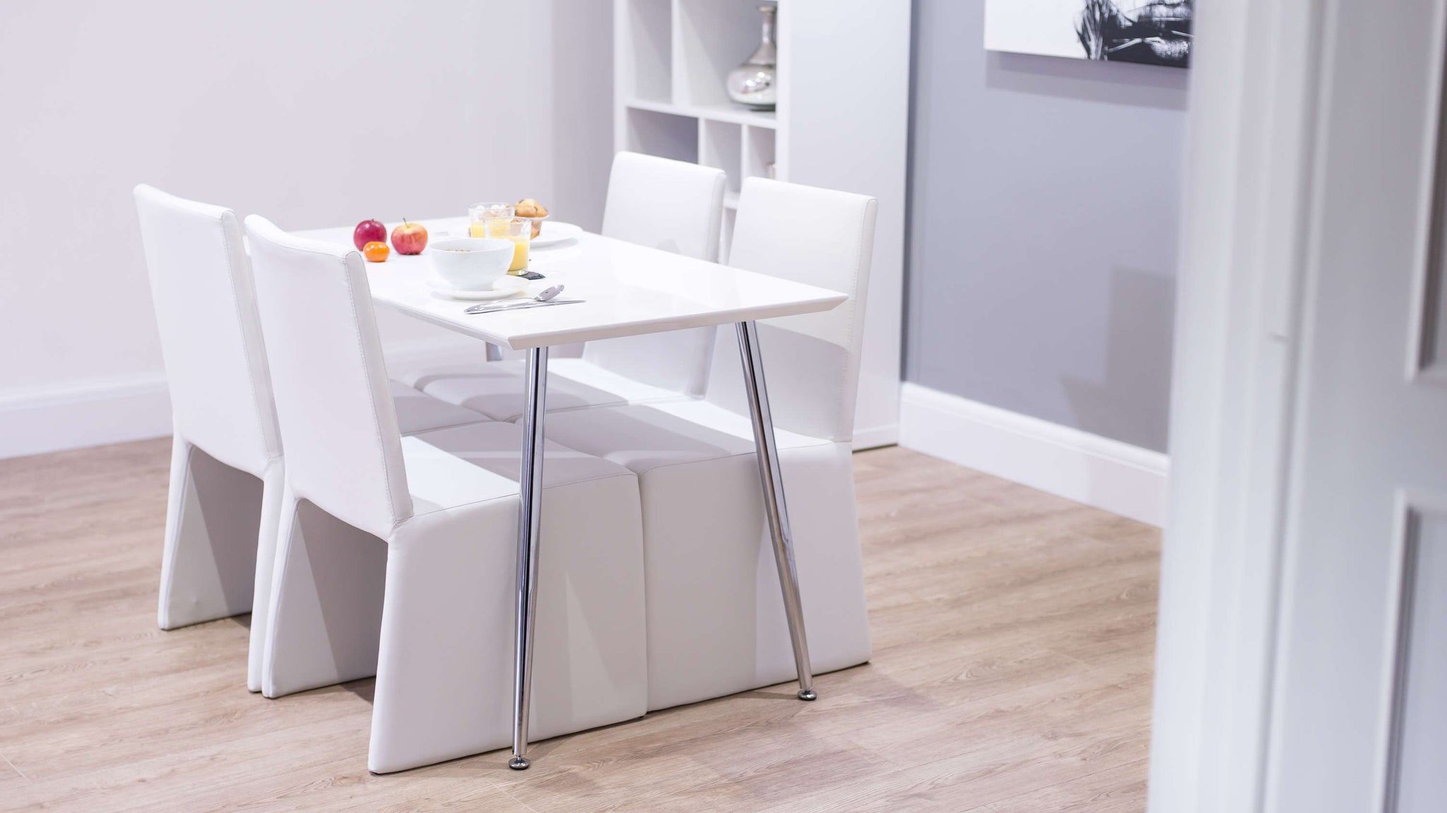 Modern White Leather and Gloss Dining Set